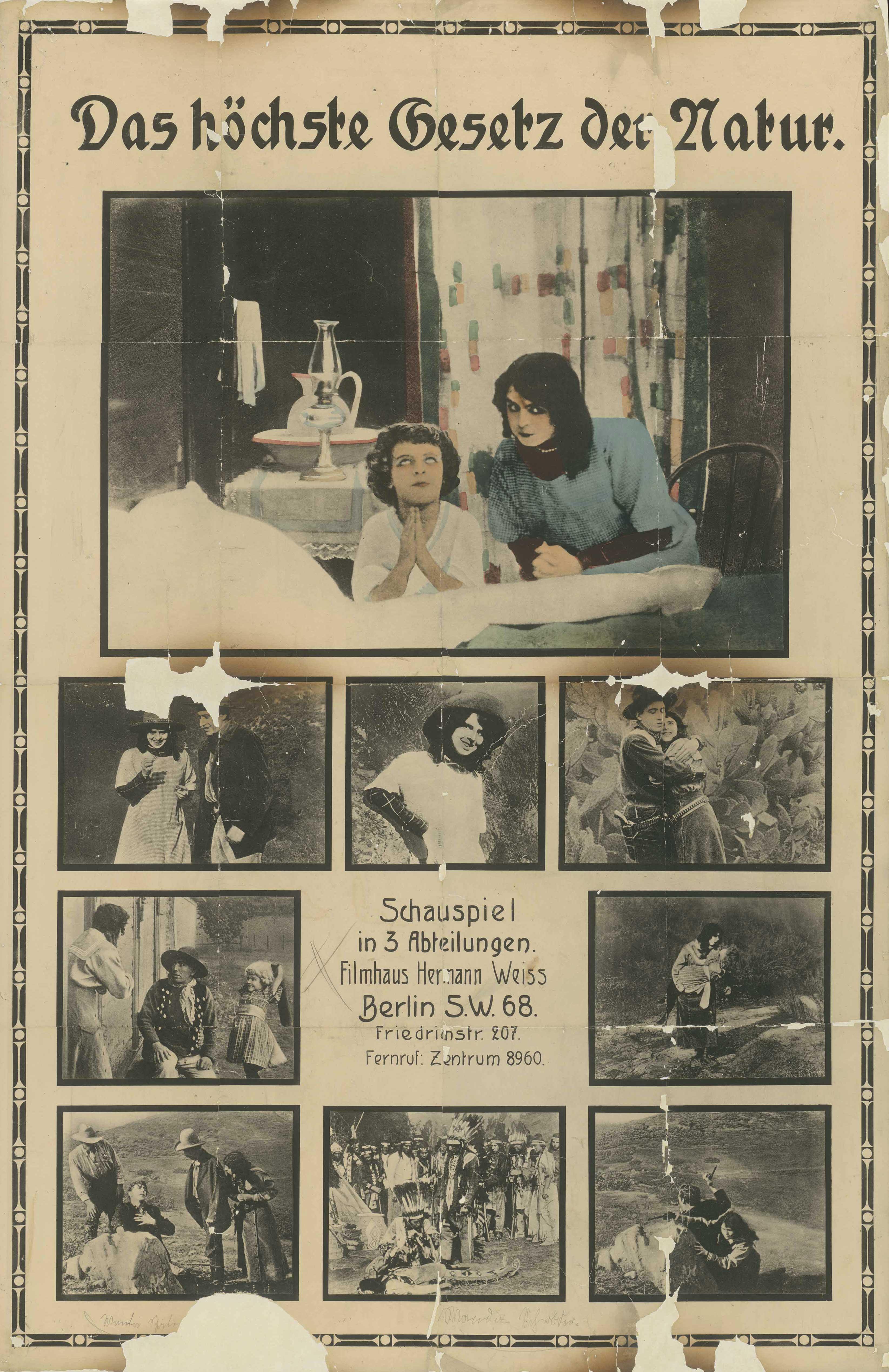 Filmplakat zu dem Film Das höchste Gesetz der Natur, Deutschland 1916