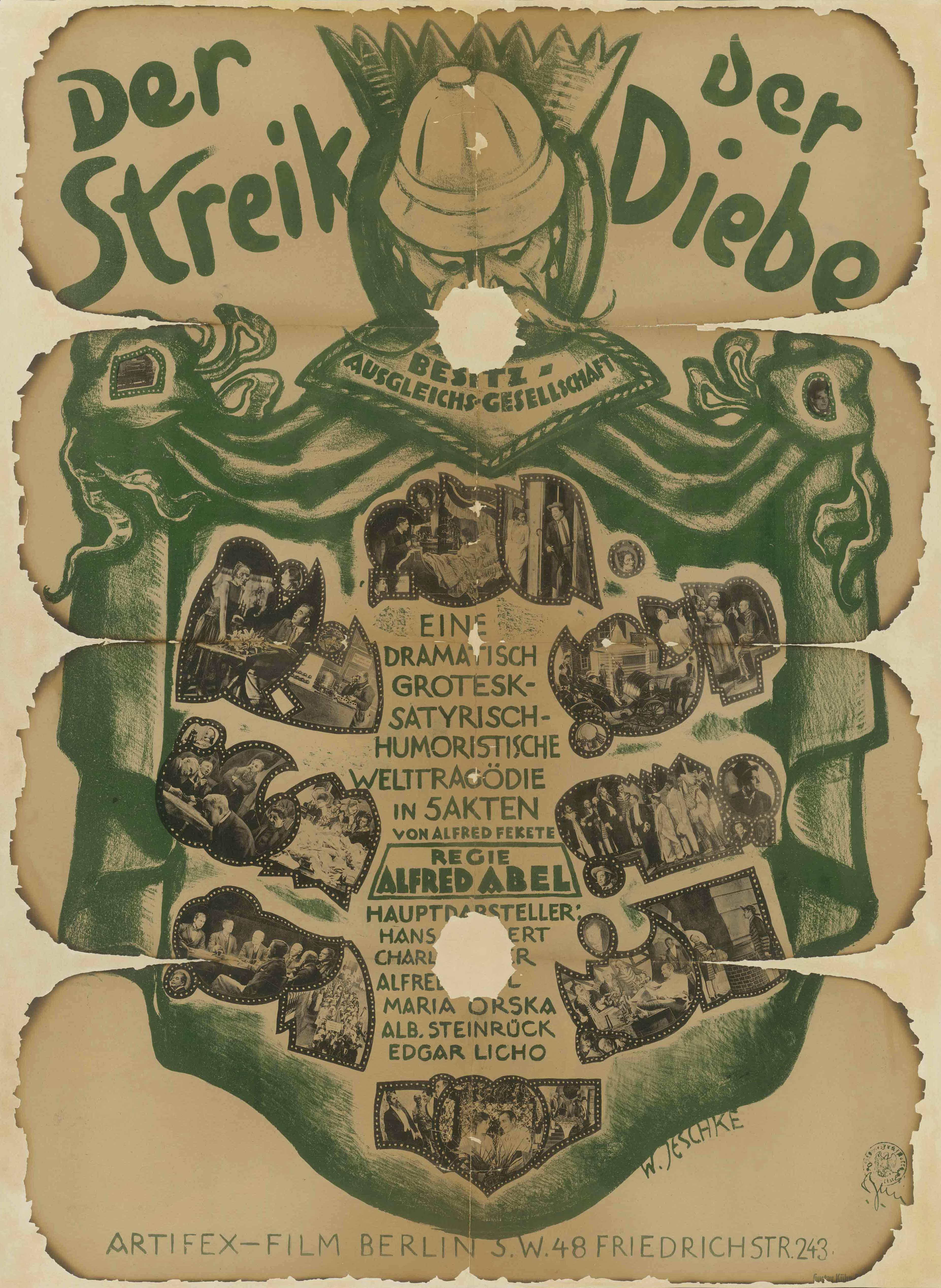 Filmplakat zu dem Film Der Streik der Diebe, Deutschland 1920/21