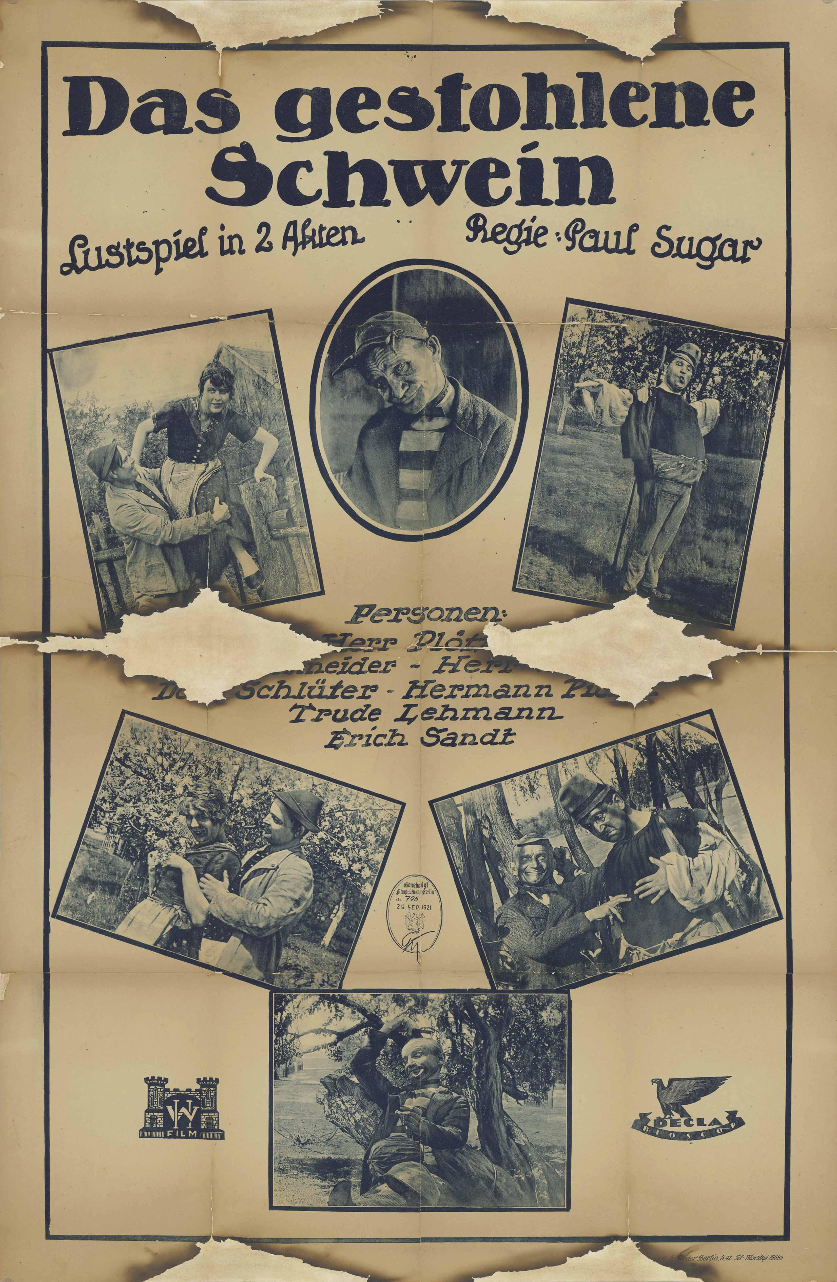 Filmplakat zu dem Film Das gestohlene Schwein, Deutschland 1921