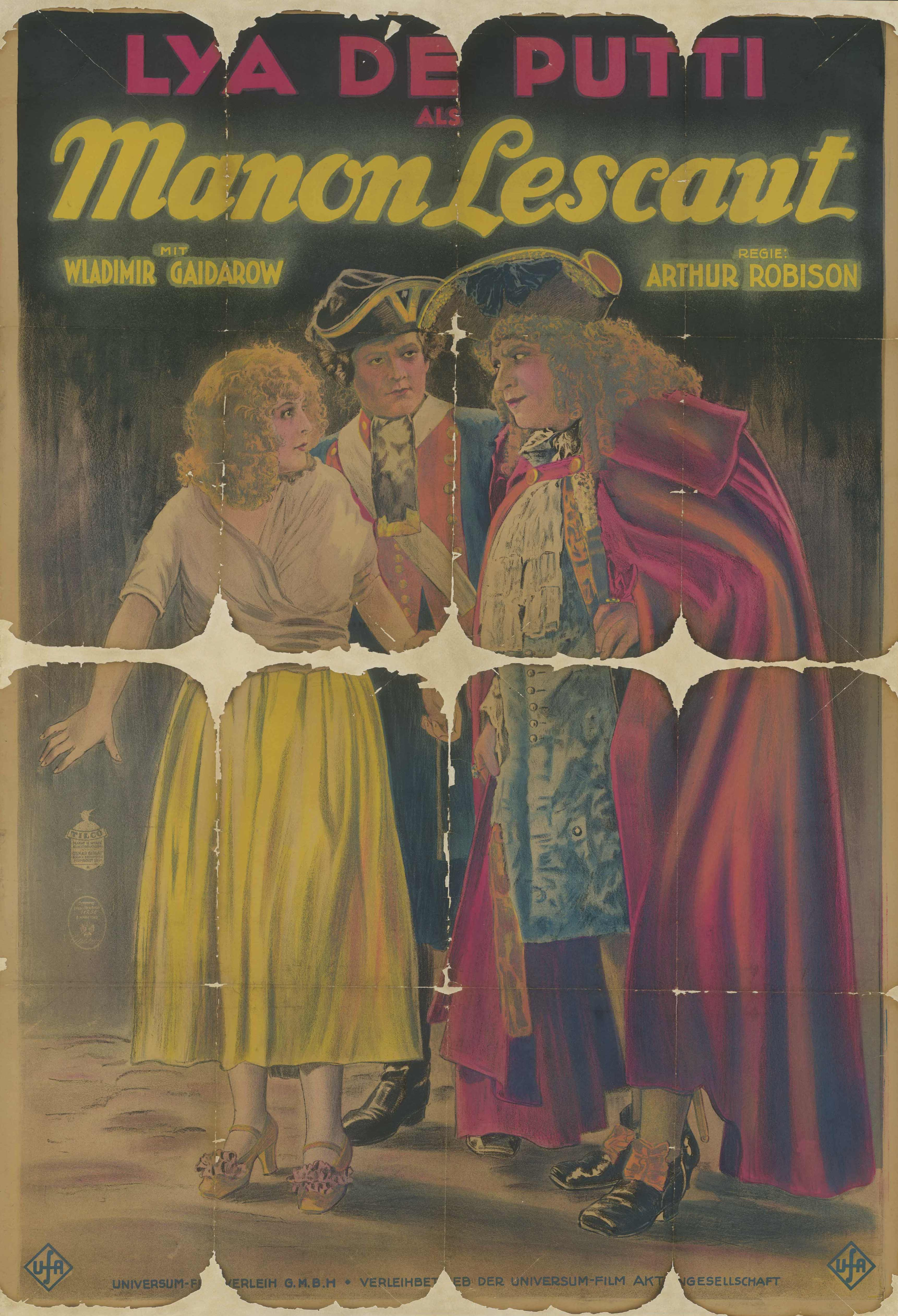 Film poster for Manon Lescaut, Germany 1925/1926