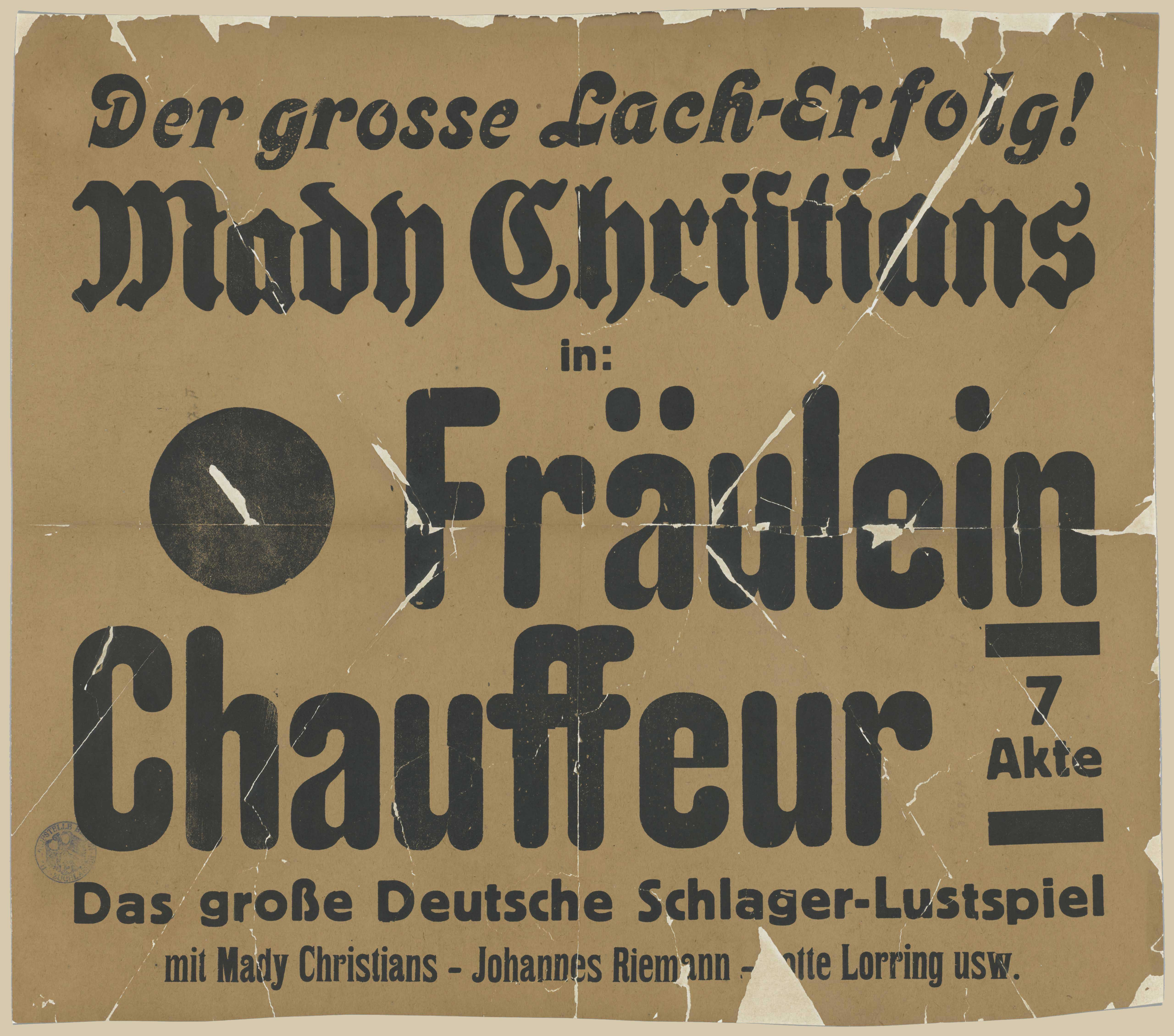 Film poster for Fräulein Chauffeur, Germany 1928