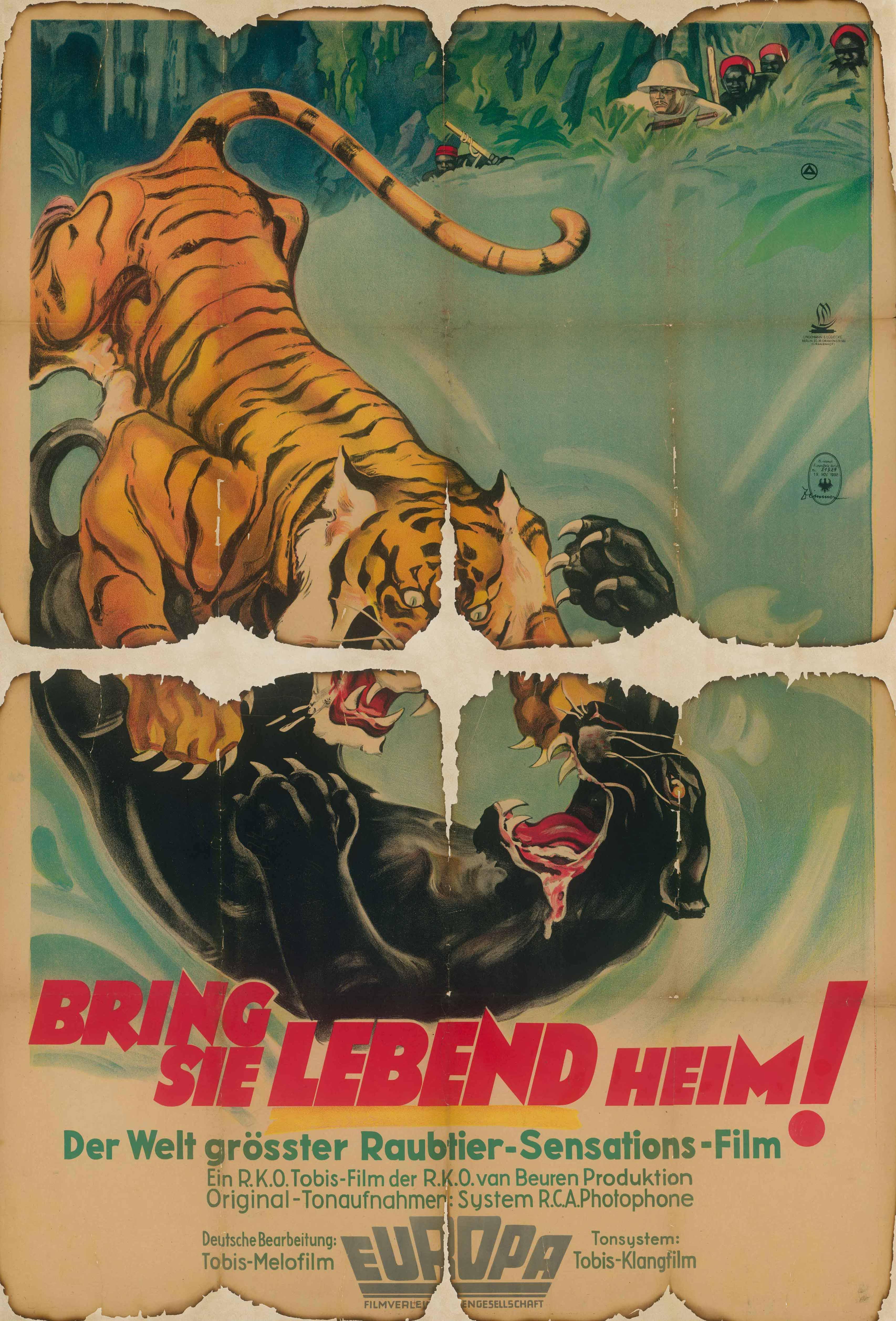 Filmplakat für Film Bring 'em back alive, USA 1932