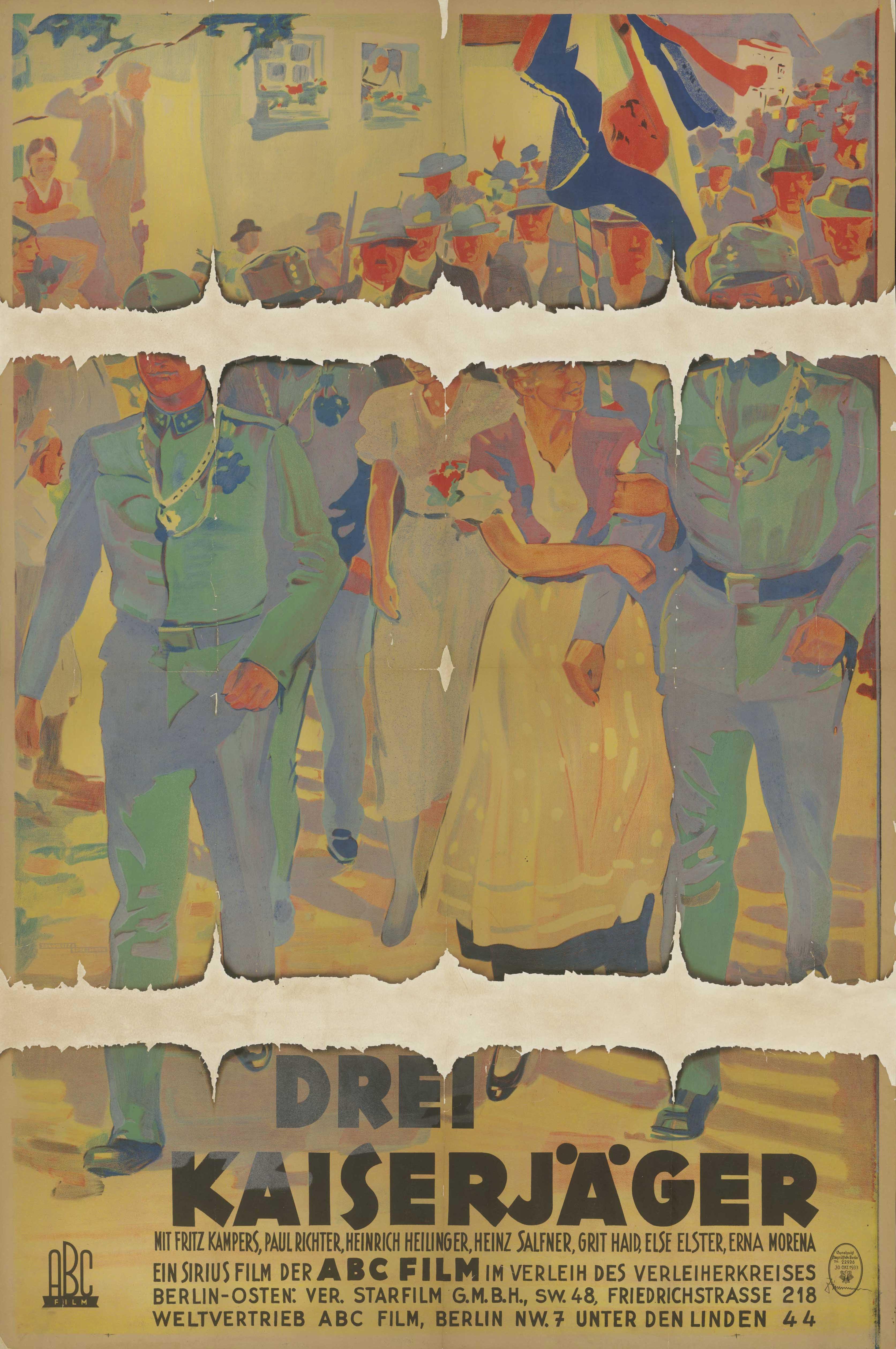 Filmplakat zu dem Film Drei Kaiserjäger Deutschland 1925