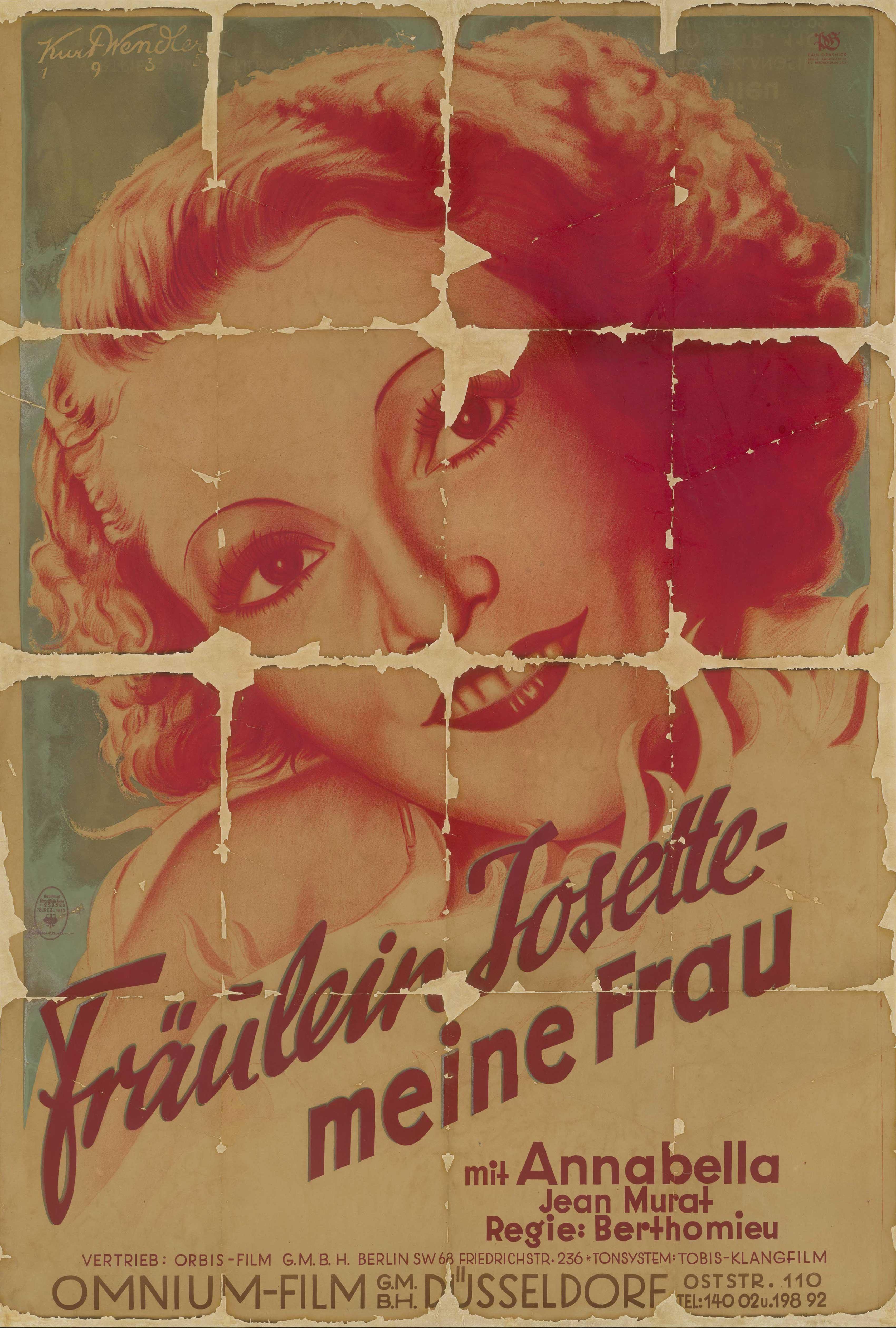 Filmplakat zu dem Film Mademoiselle Josette, ma femme, Frankreich 1933