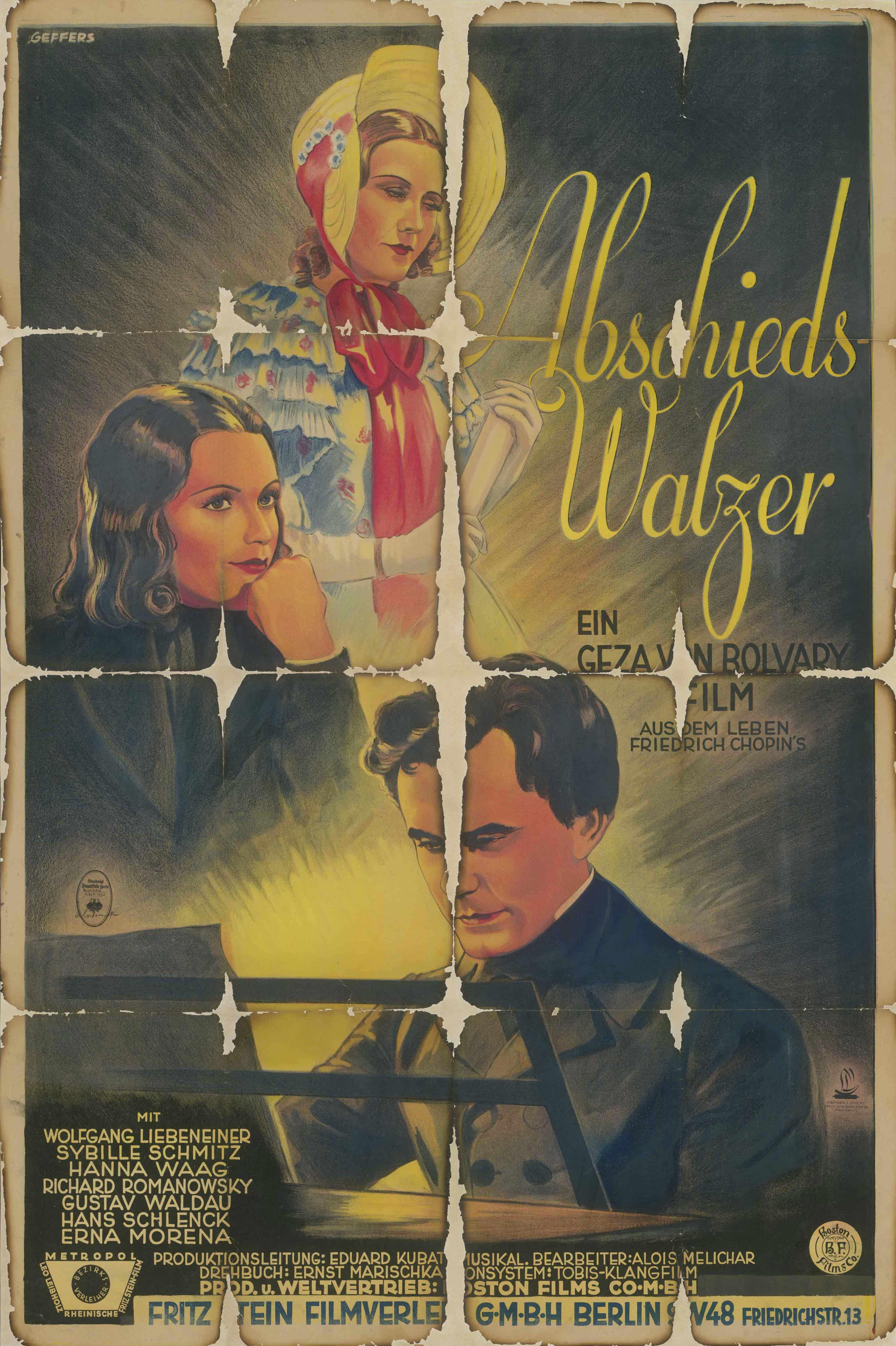 Filmplakat zu dem Film Der Abschiedswalzer, Deutschland 1934