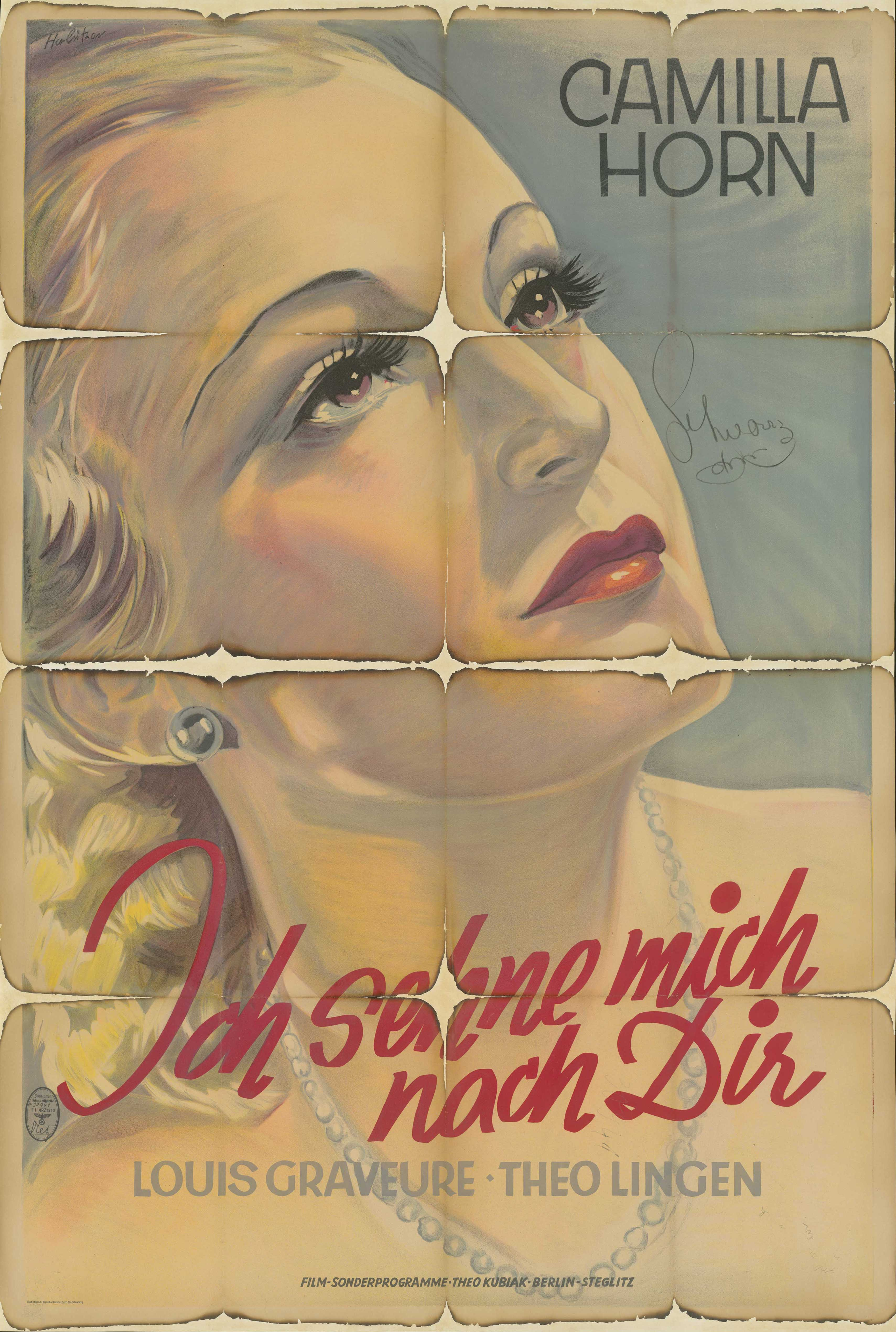 Film poster for Ich sehne mich nach dir, Germany 1934