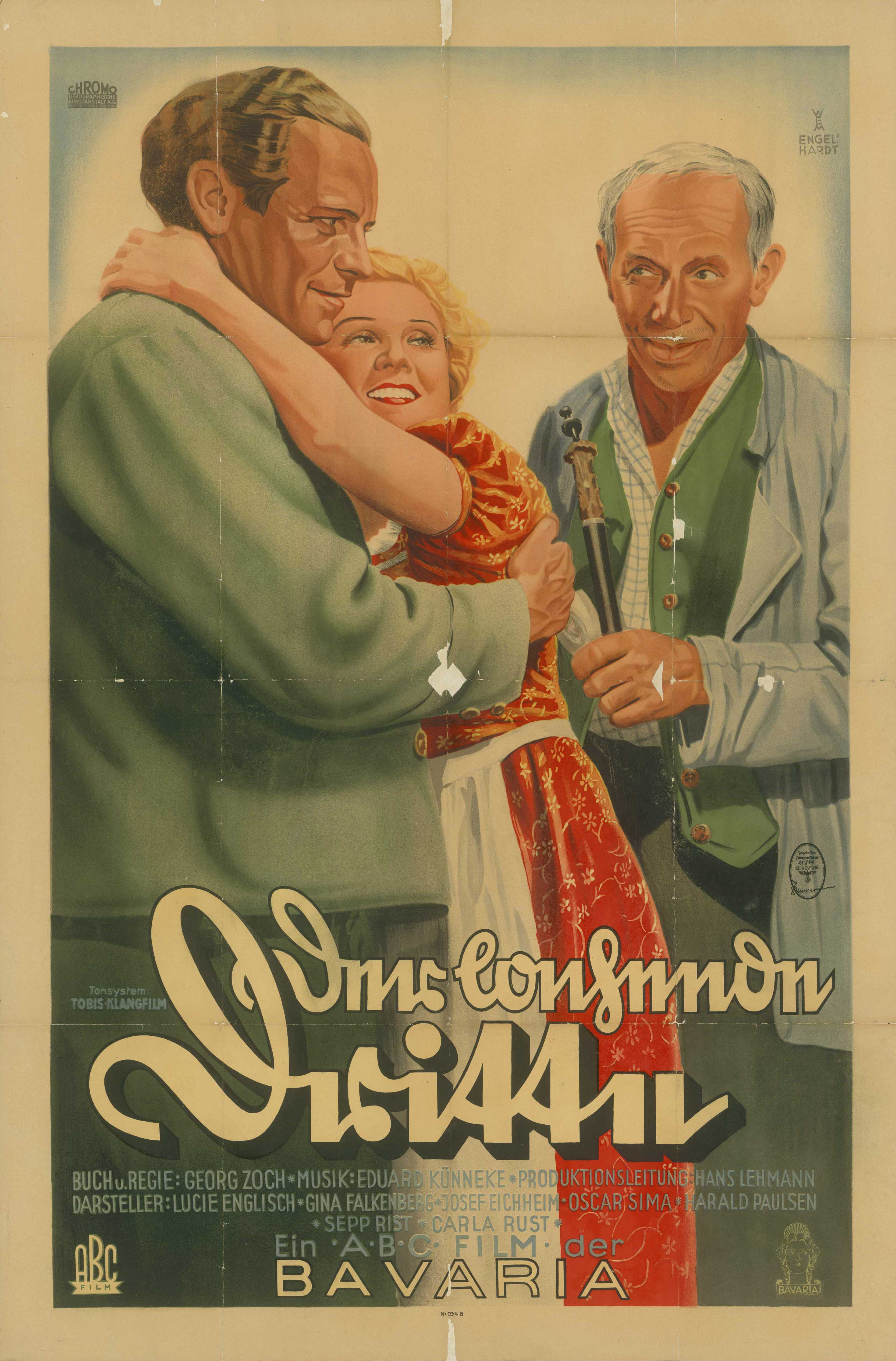 Film poster for Der lachende Dritte, Germany 1936