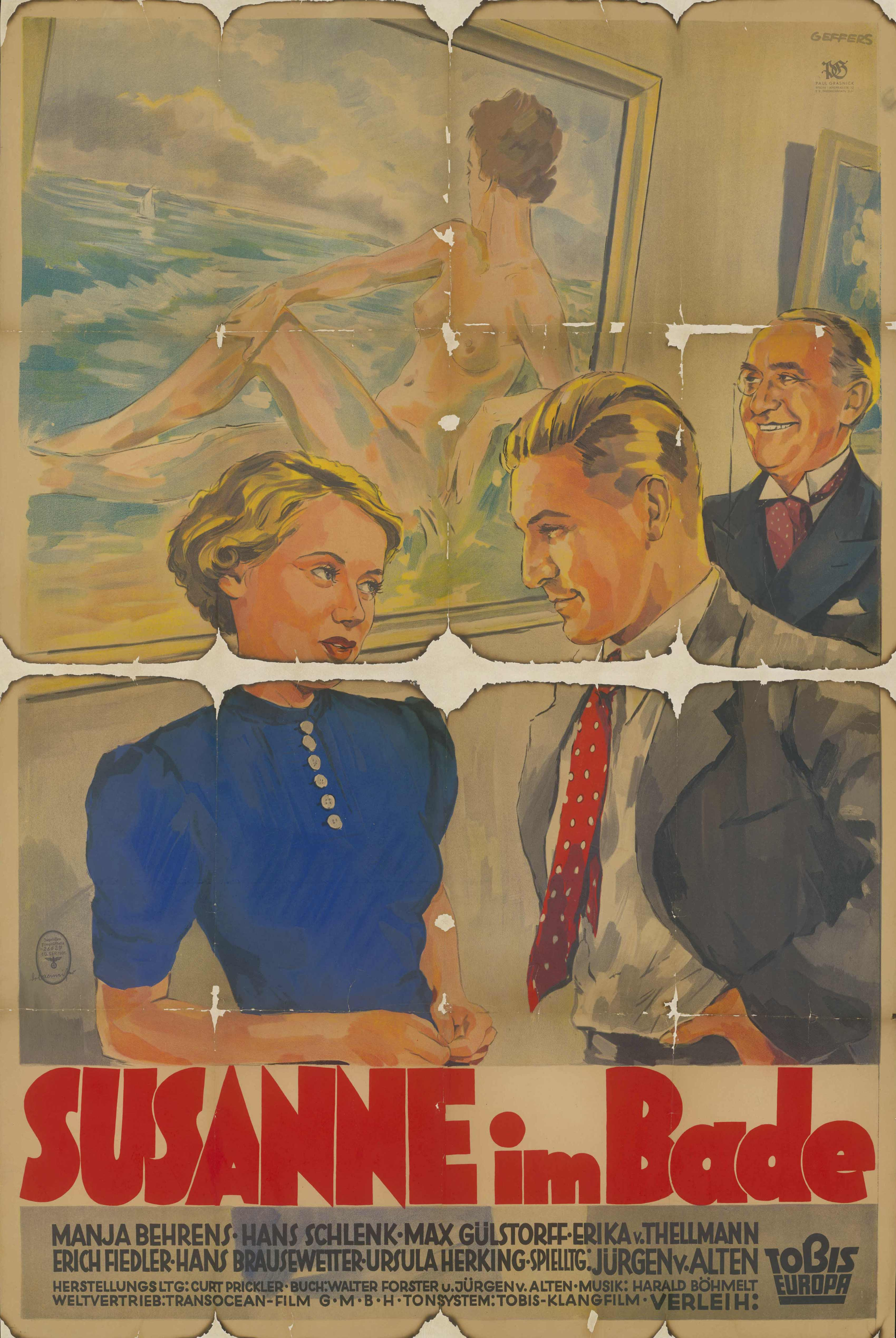 Film poster for Susanne im Bade, Germany 1936