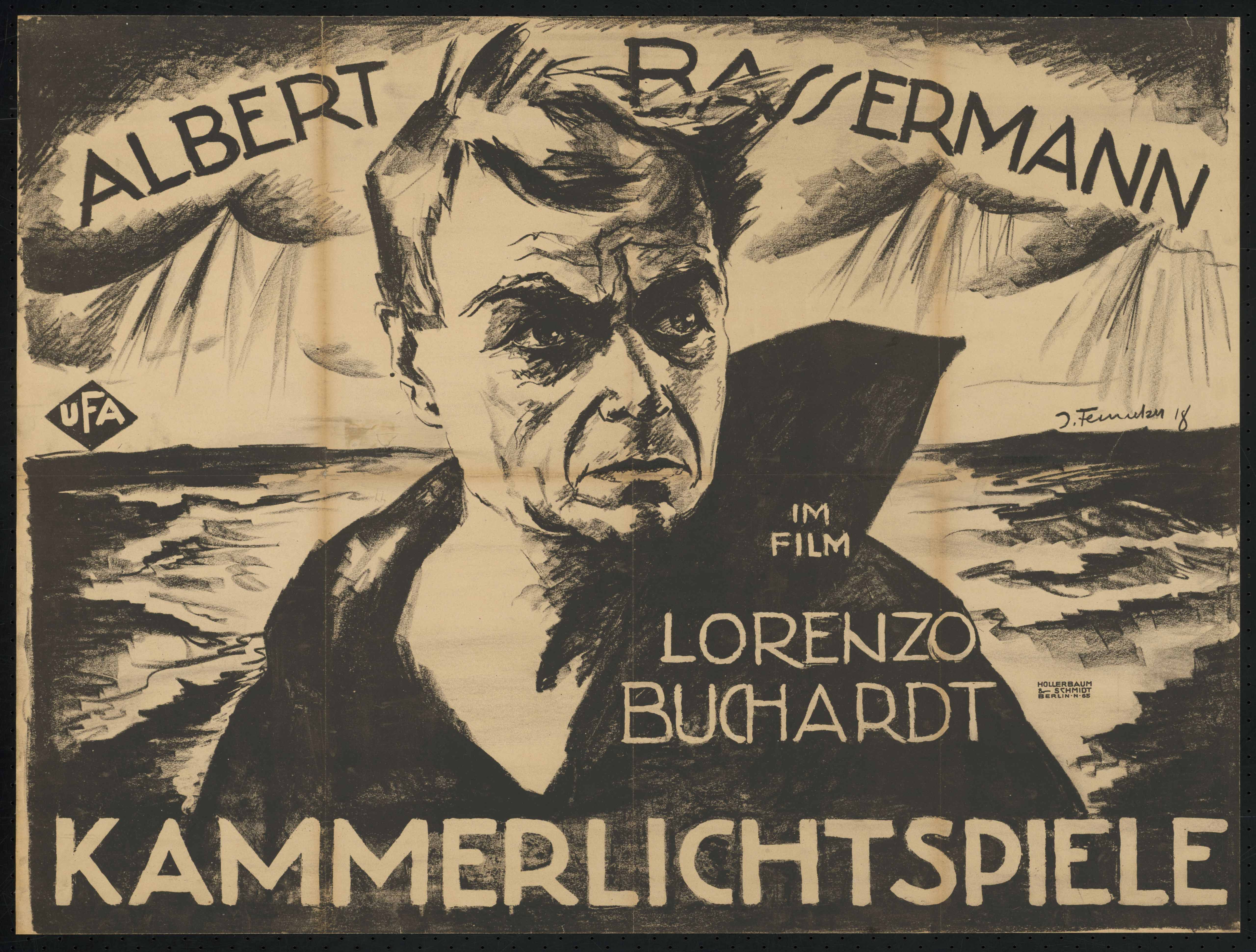 Film poster by Josef Fenneker: Lorenzo Burghardt, Germany 1918, directed by William Wauer