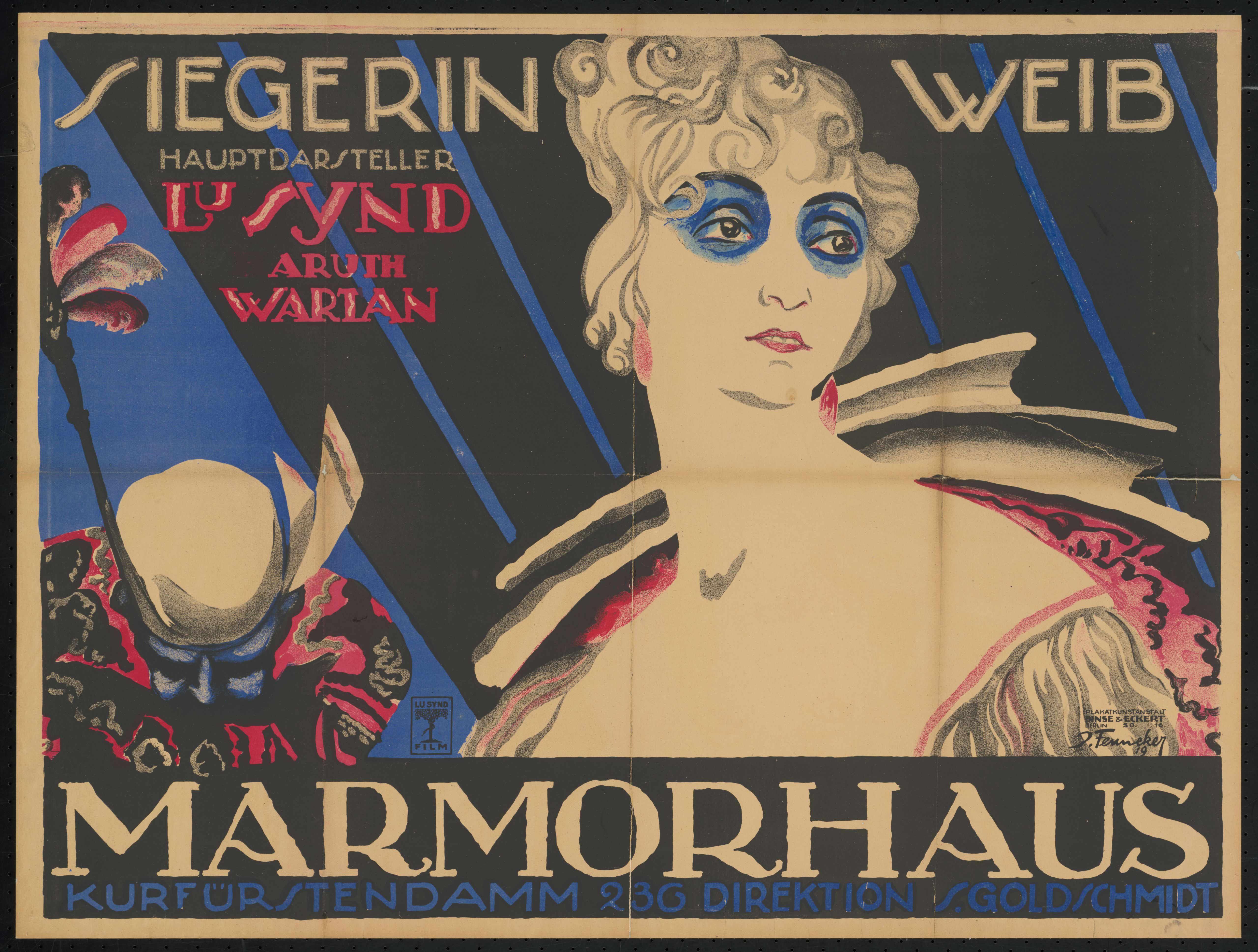 Plakat zu dem Film Siegerin Weib, Deutschland 1918, Regie: Aruth Wartan, von Plakatkünstler Josef Fenneker