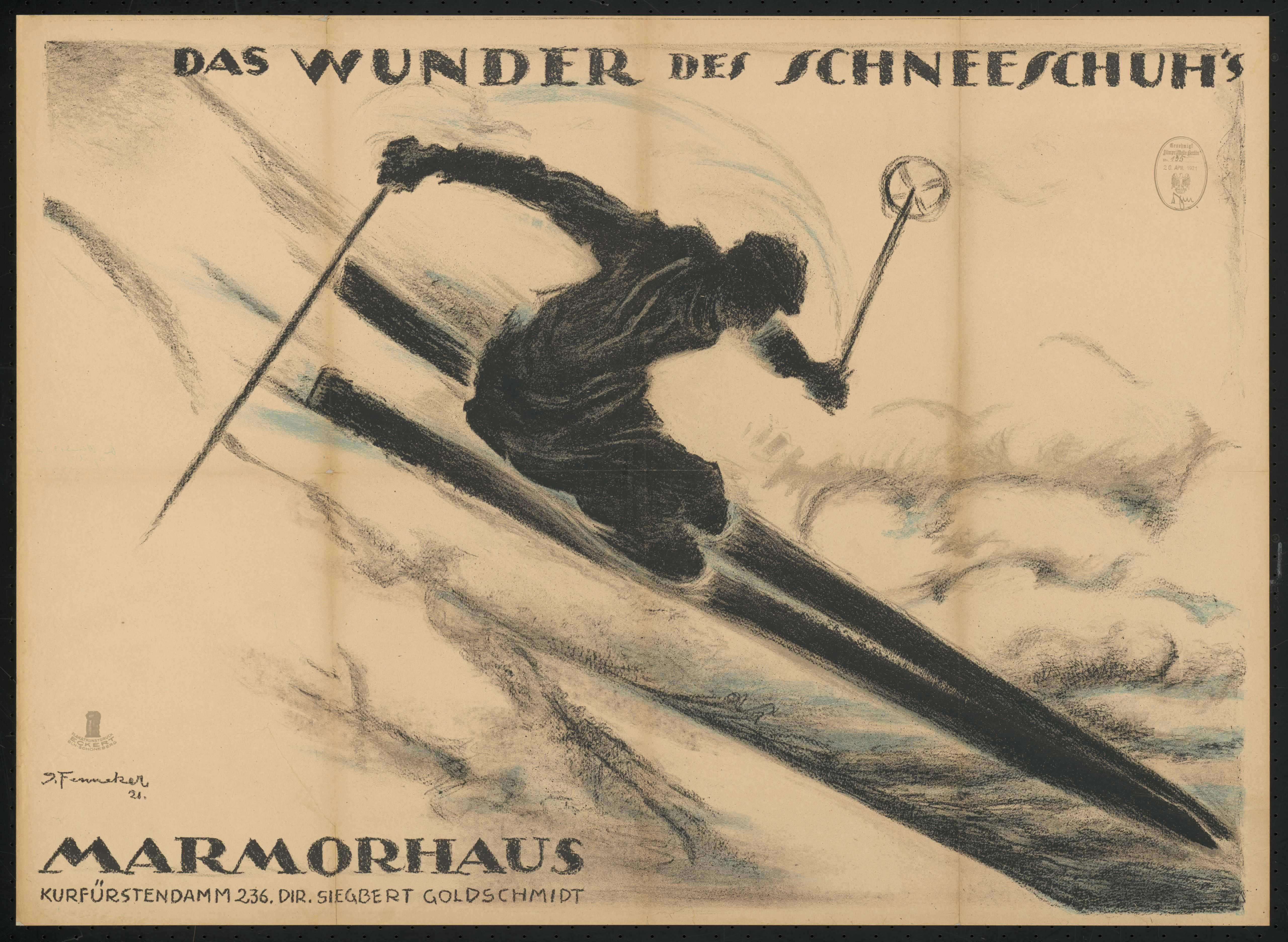 Plakat zu dem Film Das Wunder des Schneeschuhs, 1. Teil, Deutschland 1919, Regie: Arnold Fanck, von Plakatkünstler Josef Fenneker