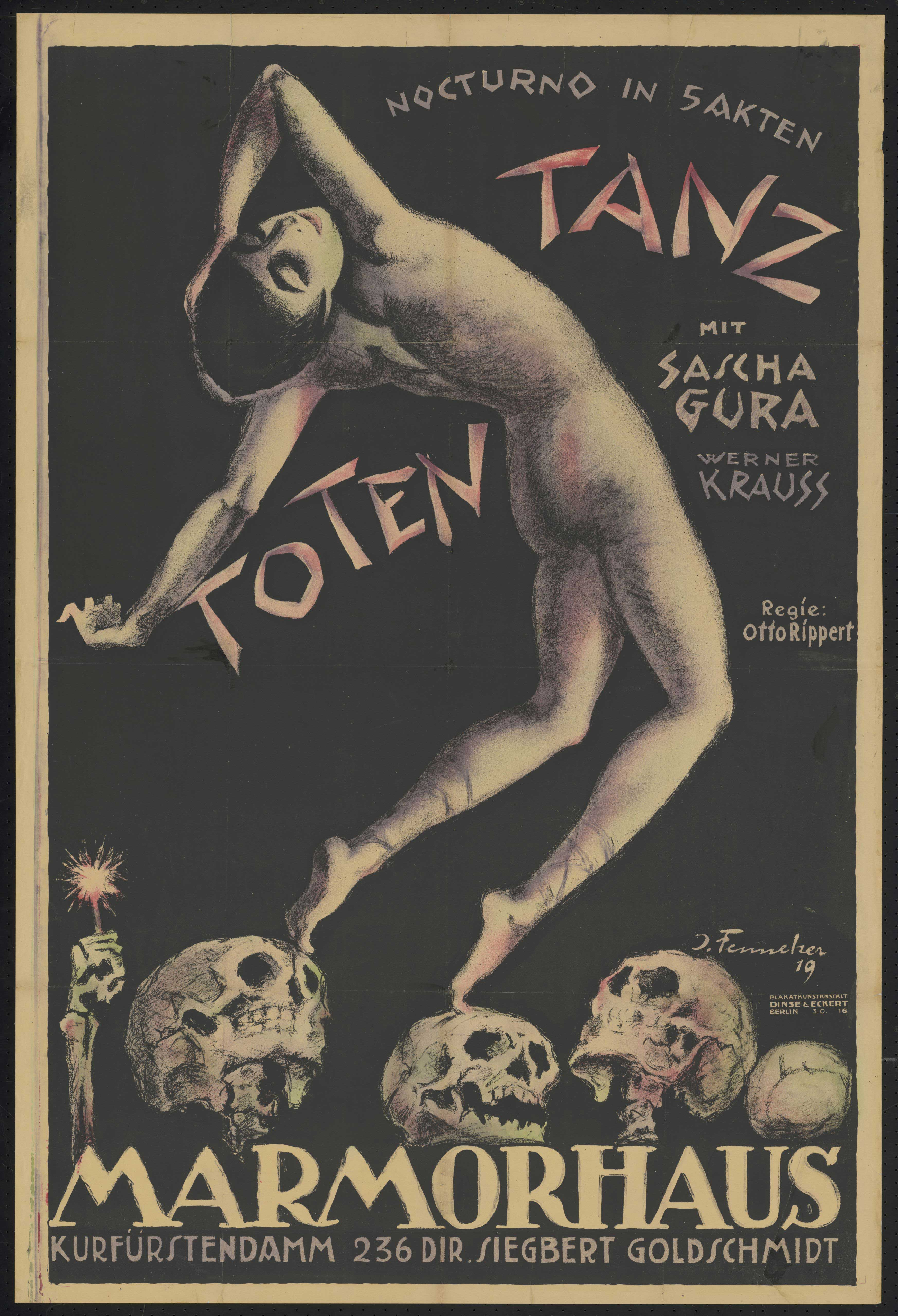 Film poster by Josef Fenneker: Totentanz, Germany 1919, directed by Otto Rippert
