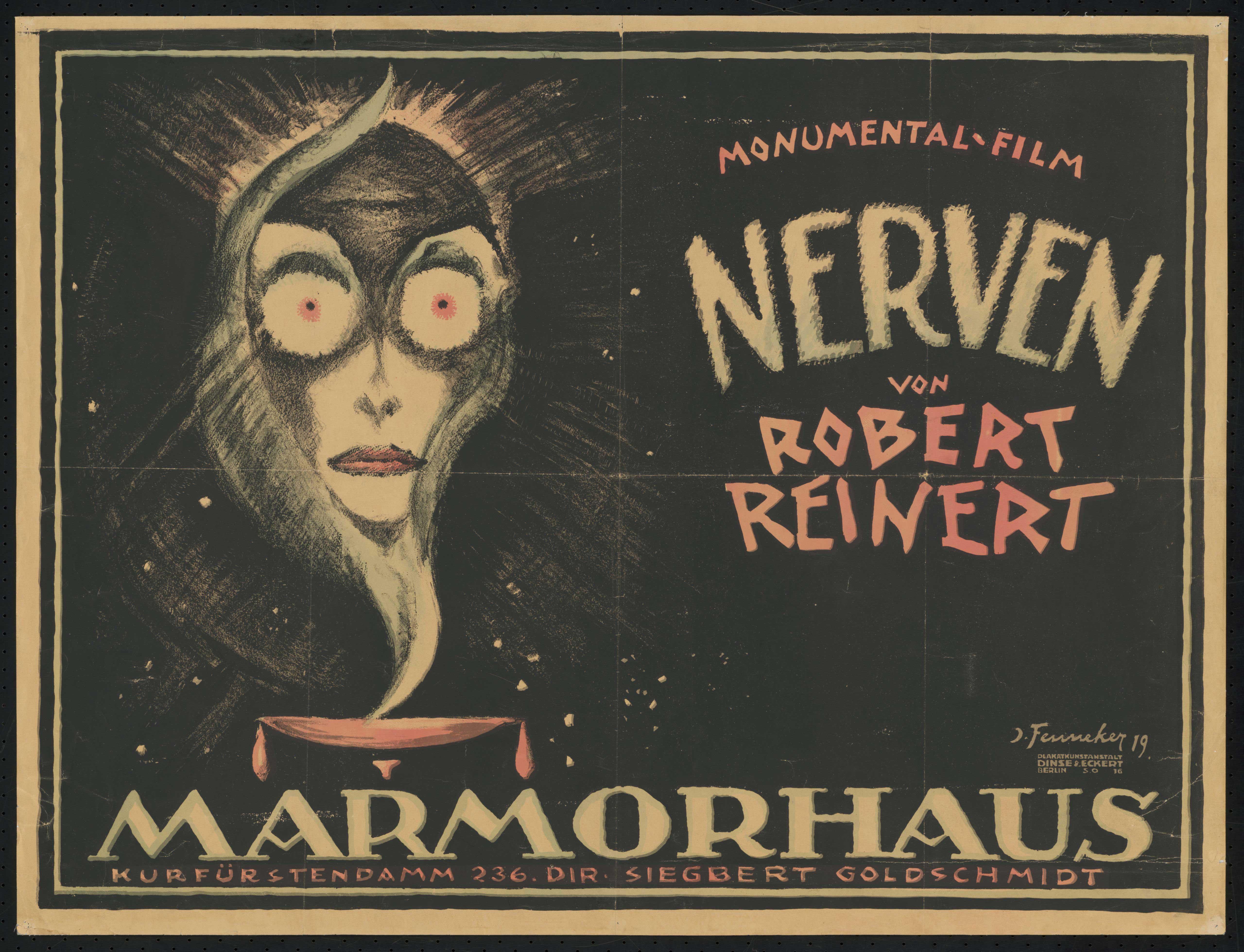 Plakat zu dem Film Nerven, Deutschland 1919, Regie: Robert Reinert, von Plakatkünstler Josef Fenneker