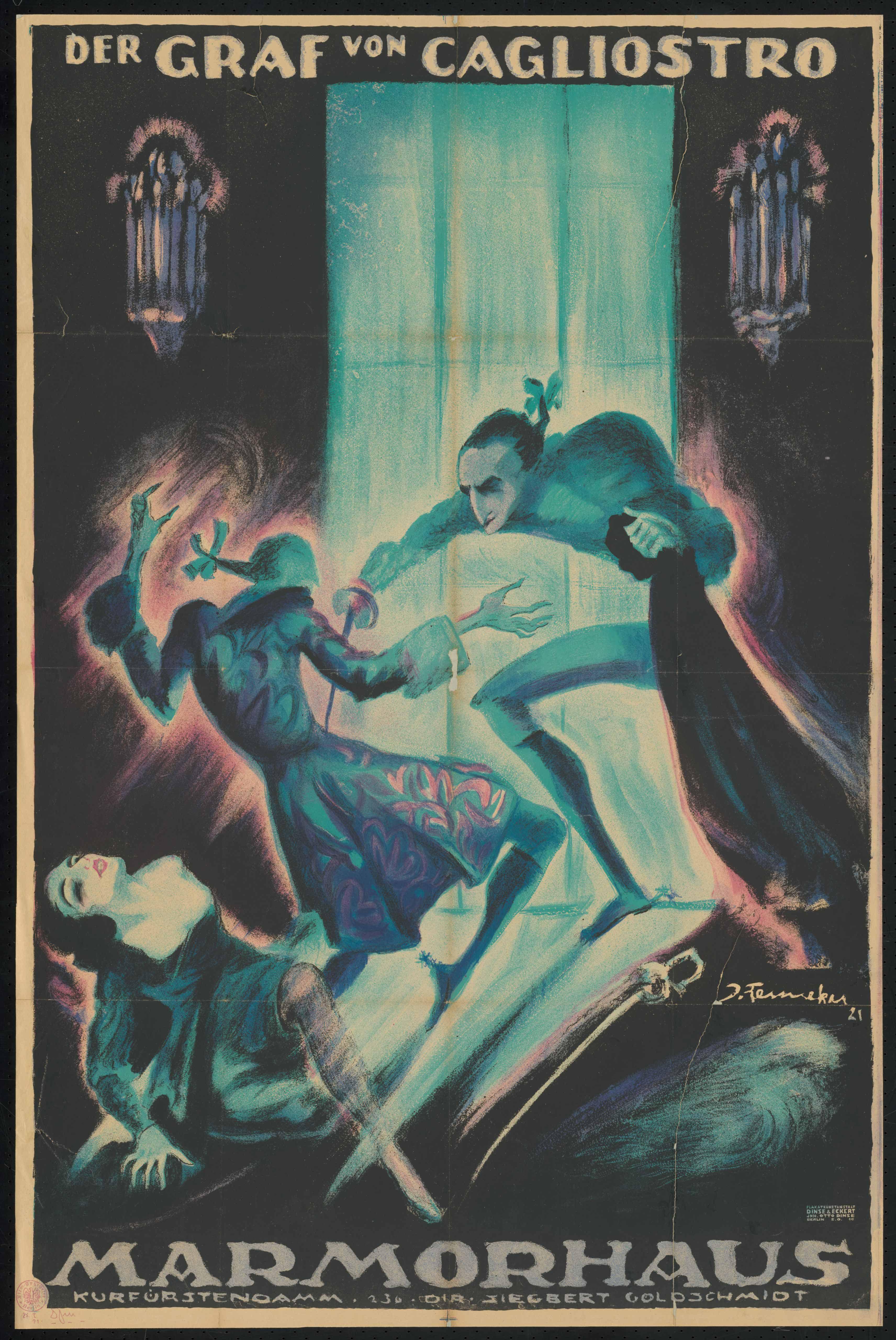 Plakat zu dem Film Der Graf von Cagliostro, Deutschland 1919, Regie: Reinhold Schünzel, von Plakatkünstler Josef Fenneker