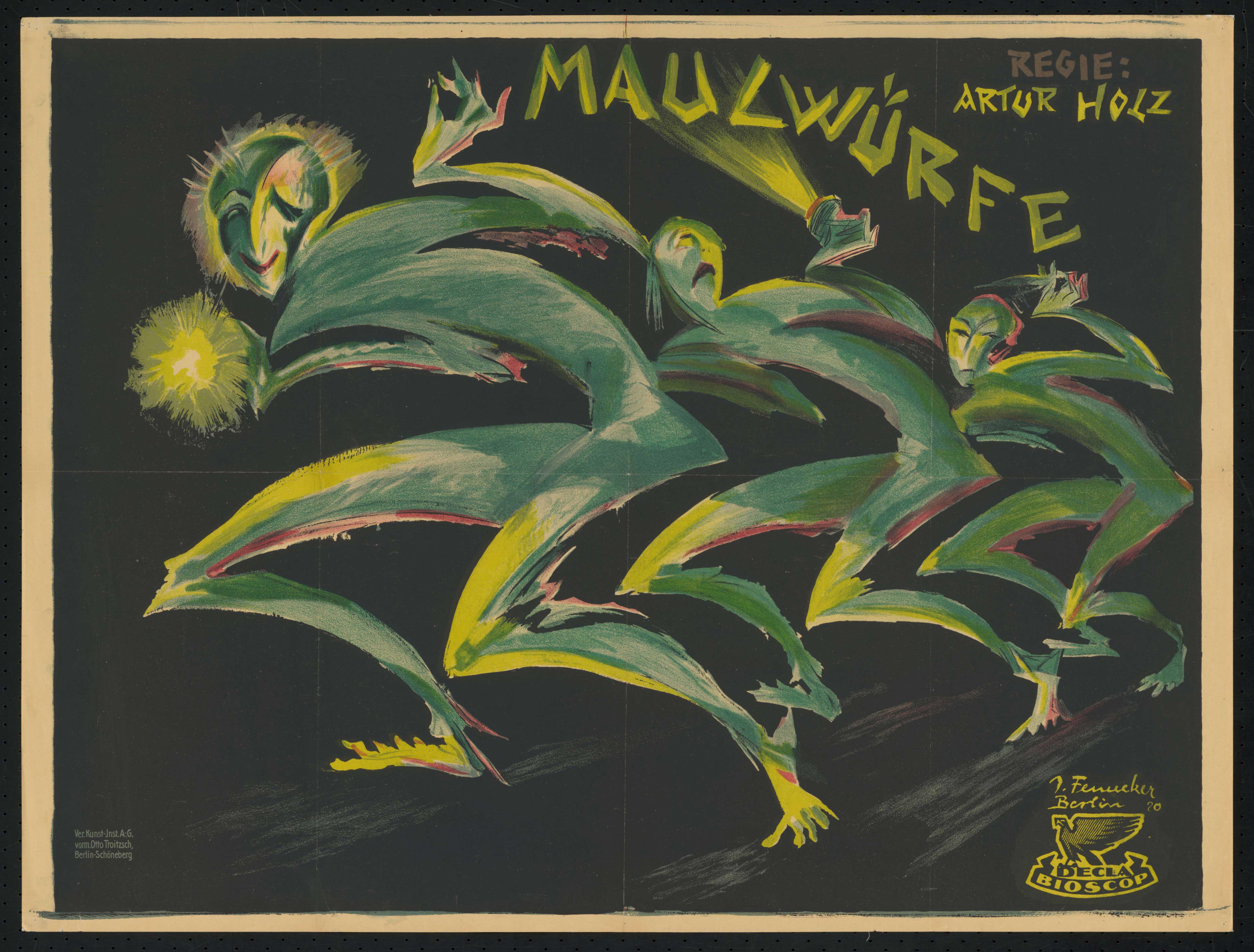 Plakat zu dem Film Maulwürfe, Deutschland 1920, Regie: Artur Holz, von Plakatkünstler Josef Fenneker