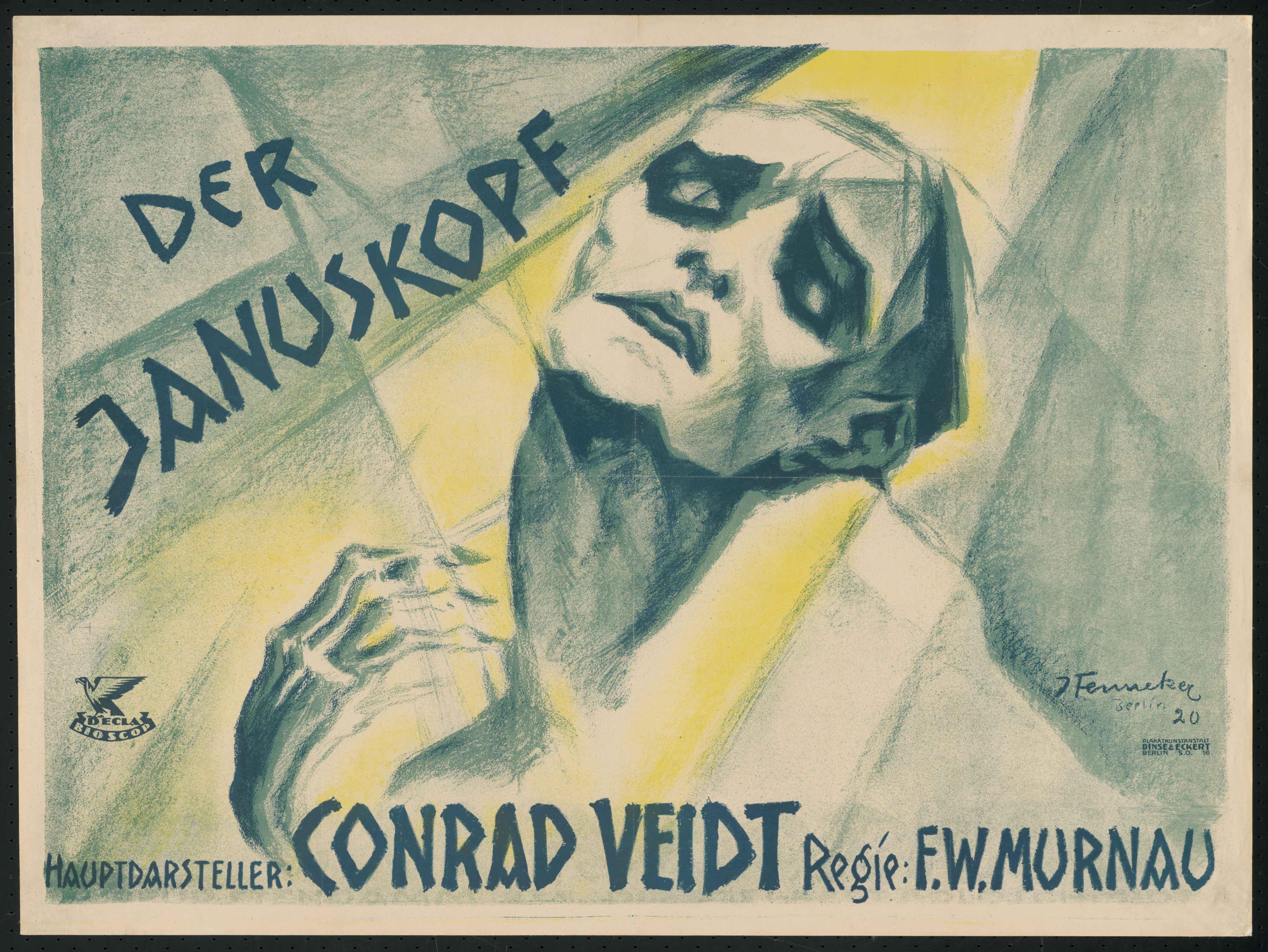 Plakat zu dem Film Der Januskopf, Deutschland 1920, Regie: Friedrich Wilhelm Murnau, von Plakatkünstler Josef Fenneker