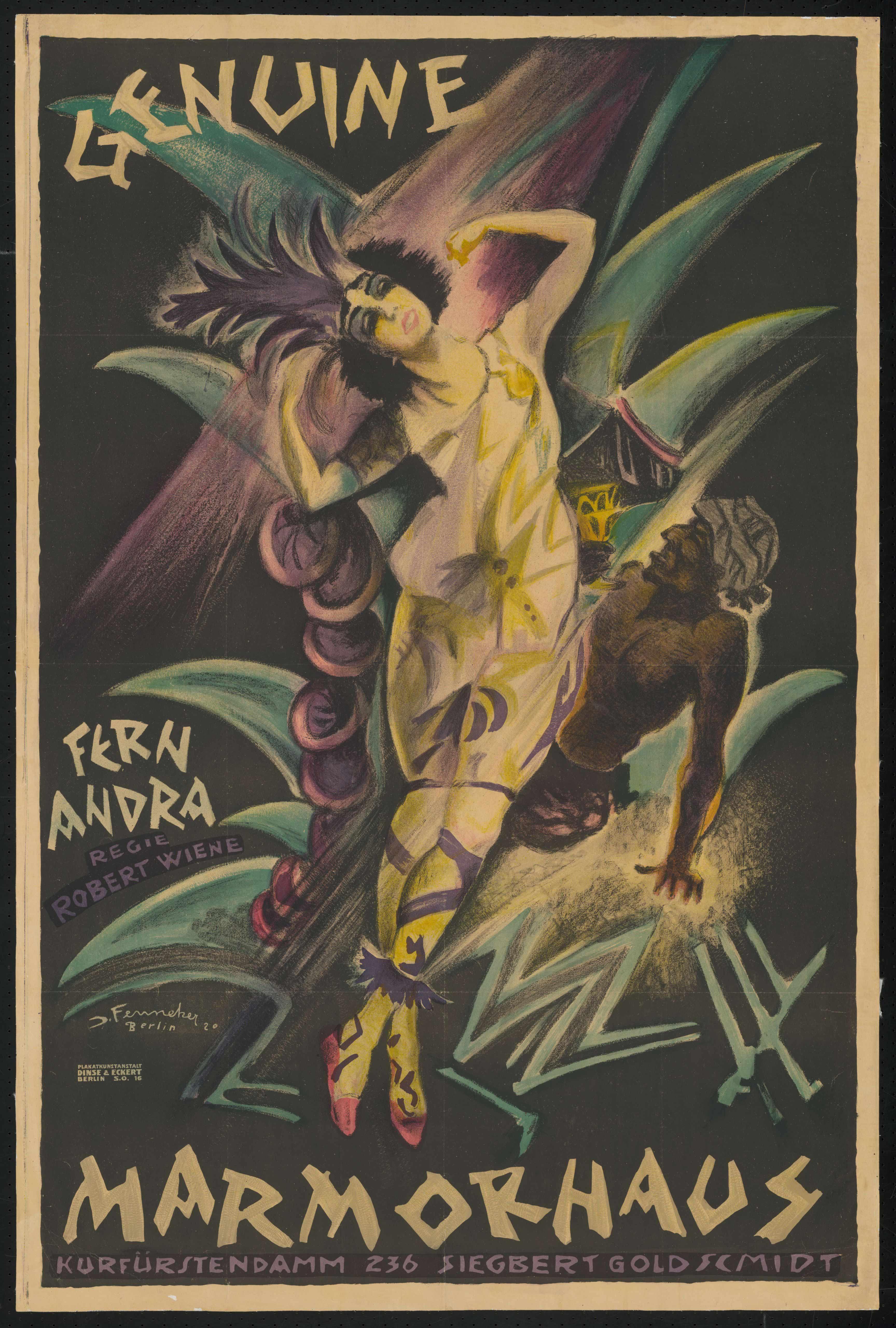 Plakat zu dem Film Genuine, Deutschland 1920, Regie: Robert Wiene, von Plakatkünstler Josef Fenneker