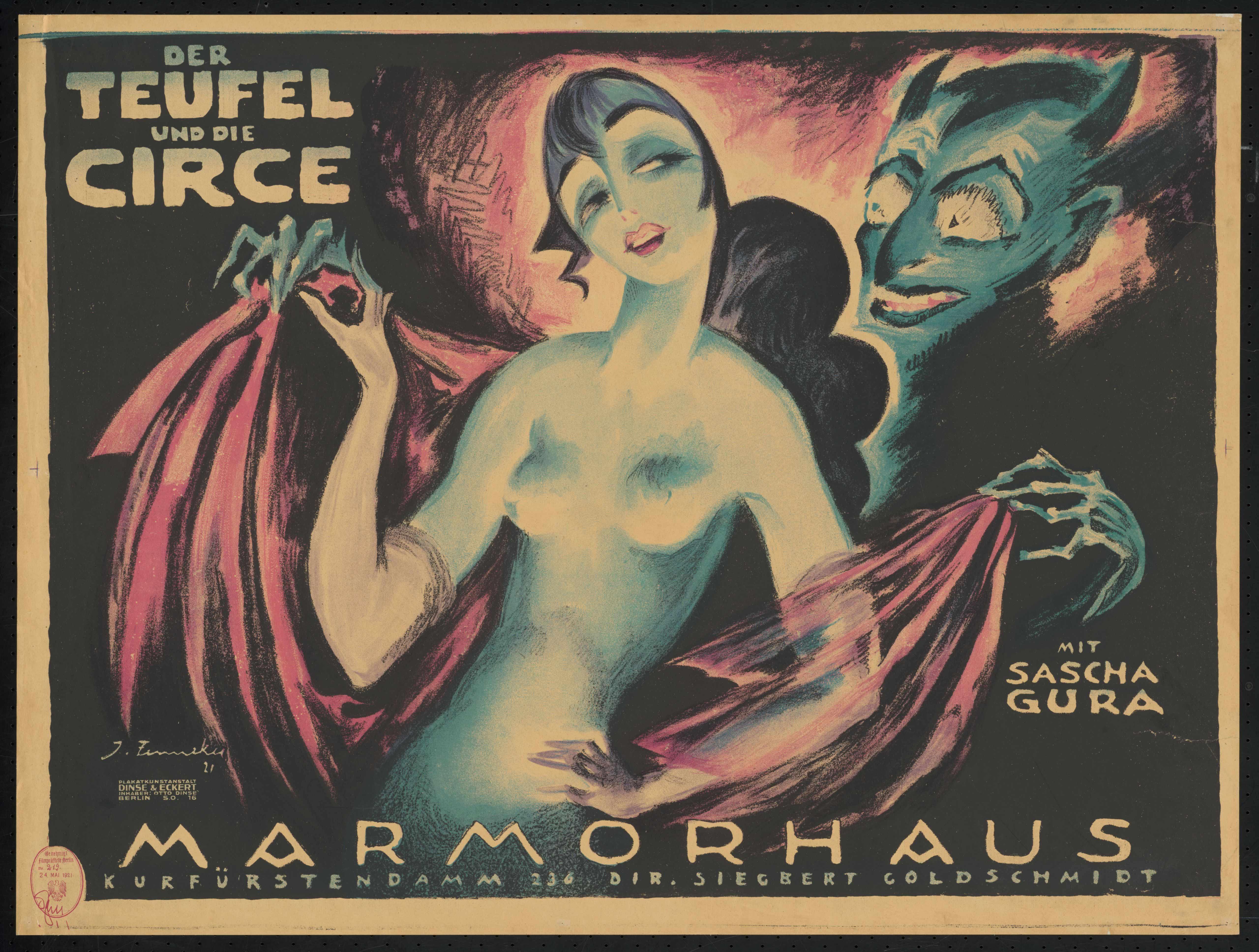 Plakat zu dem Film Teufel und Circe, Deutschland 1920, Regie: Adolf Gärtner, von Plakatkünstler Josef Fenneker