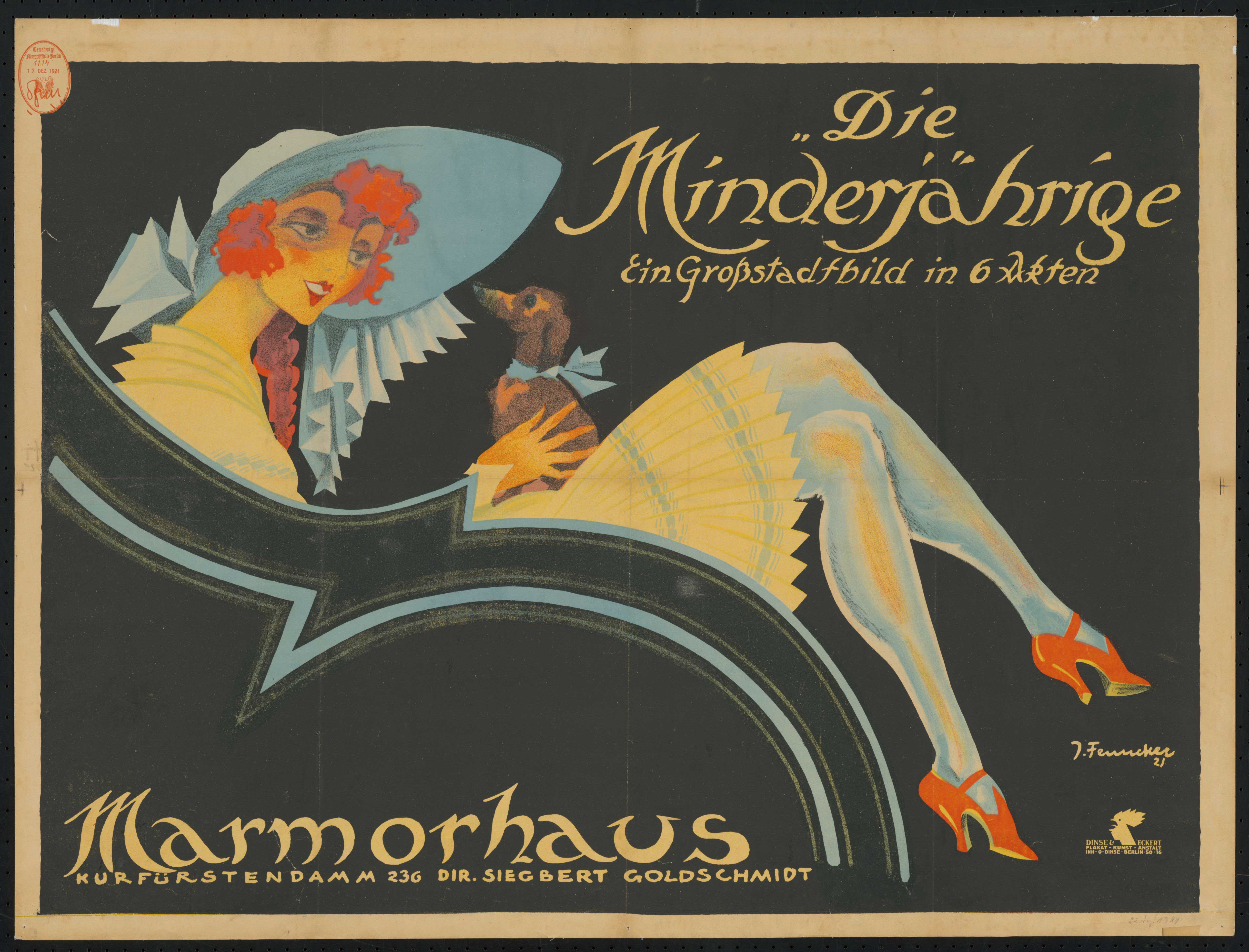 Film poster by Josef Fenneker: Die Minderjährige, Germany 1921, directed by Alfred Tostary