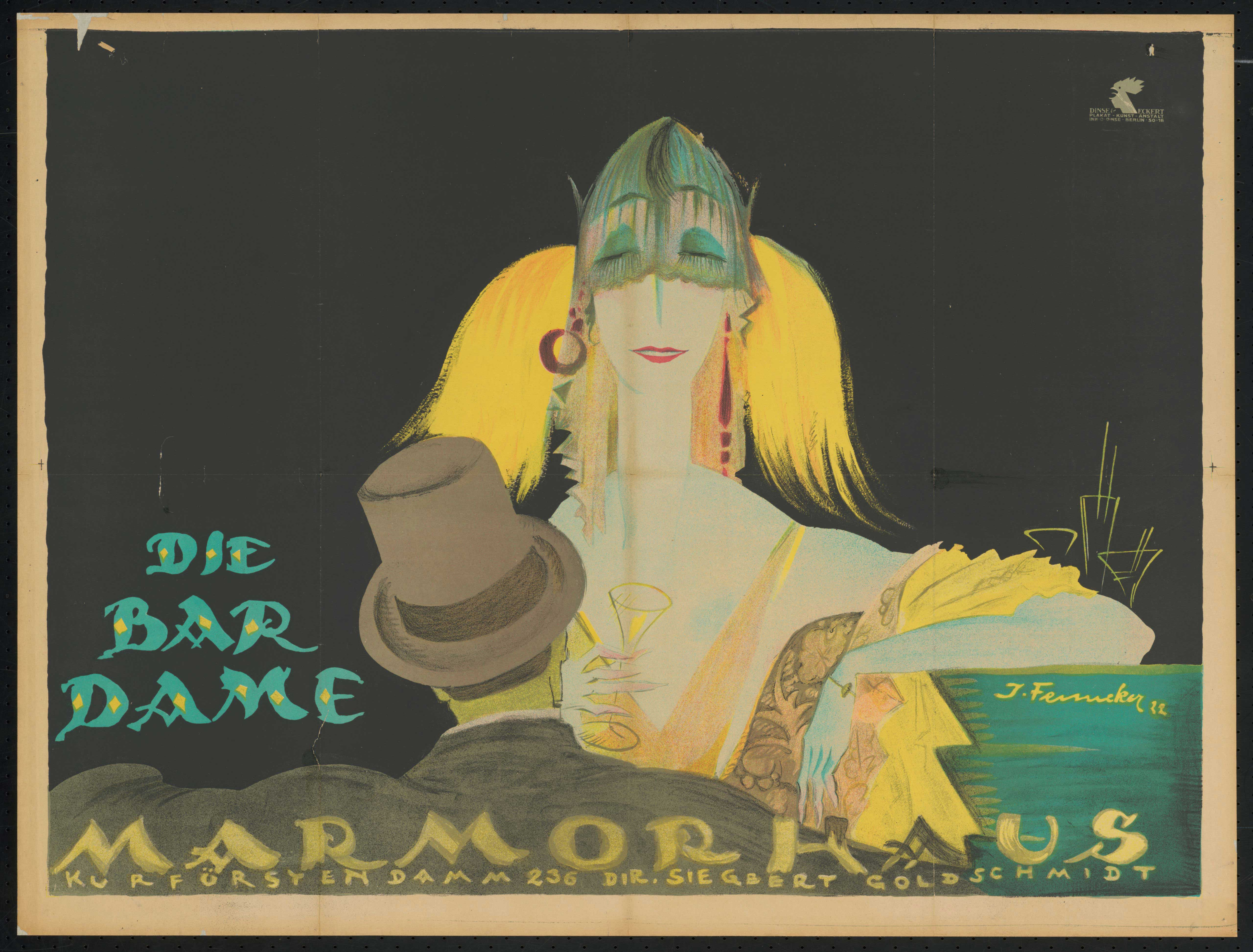 Film poster by Josef Fenneker: Die Bardame, Germany 1921, directed by Johannes Guter