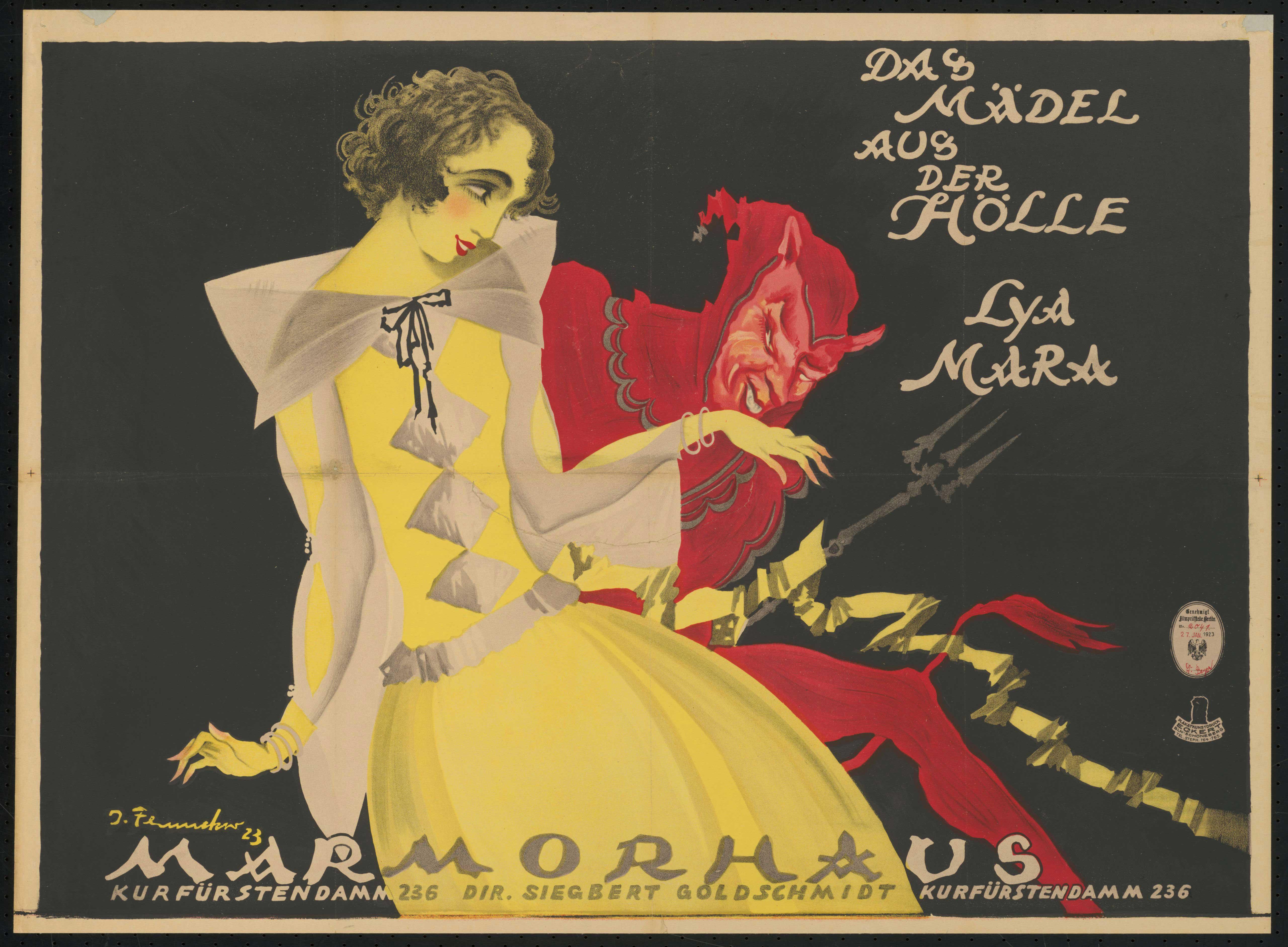 Plakat zu dem Film Das Mädel aus der Hölle, Deutschland 1922, Regie: Friedrich Zelnik, von Plakatkünstler Josef Fenneker