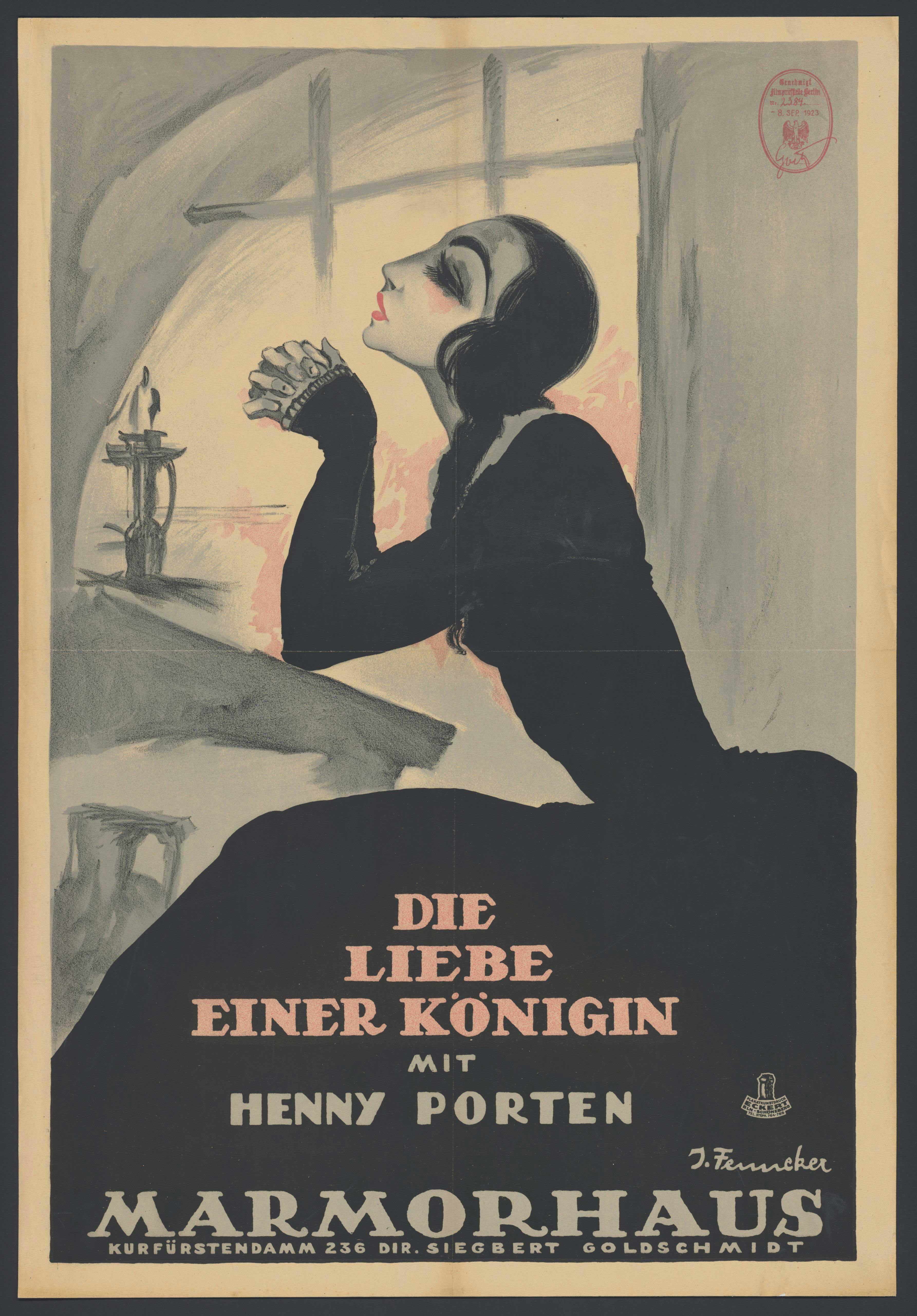 Plakat zu dem Film Die Liebe einer Königin, Deutschland 1923, Regie: Ludwig Wolff, von Plakatkünstler Josef Fenneker