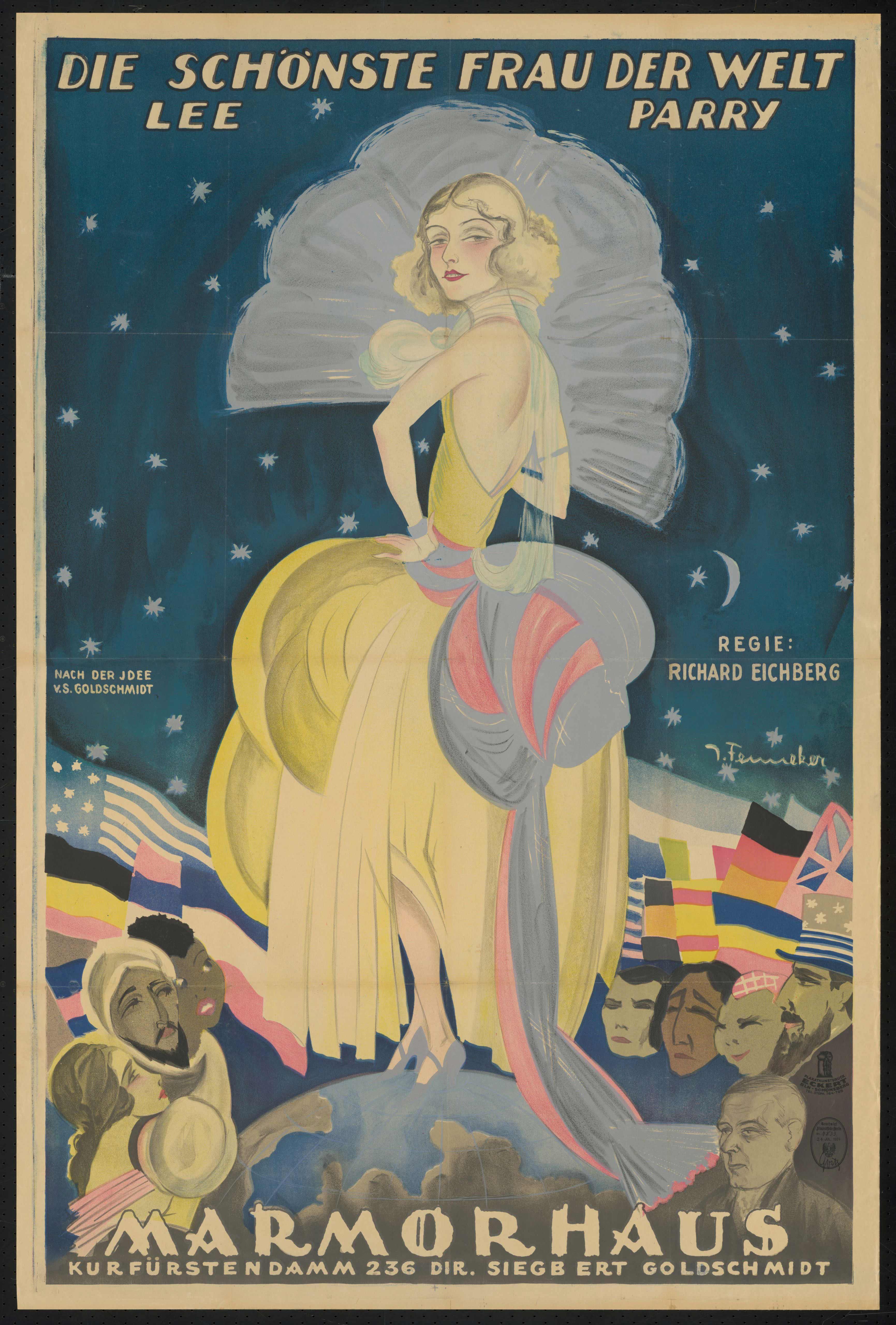 Plakat zu dem Film Die schönste Frau der Welt, Deutschland 1924, Regie: Richard Eichberg, von Plakatkünstler Josef Fenneker