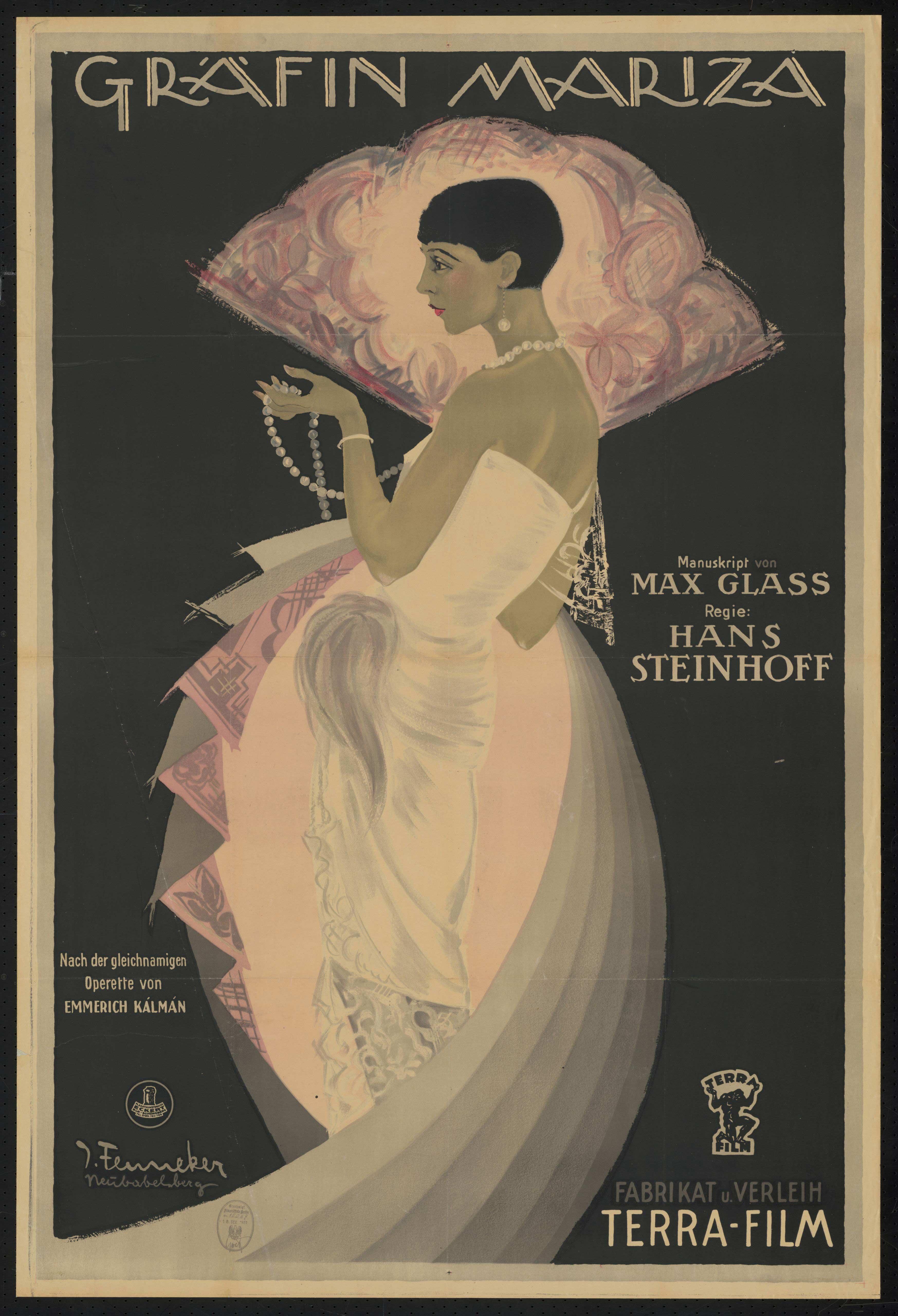 Film poster by Joef Fenneker: Gräfin Mariza, Germany 1925, directed by Hans Steinhoff