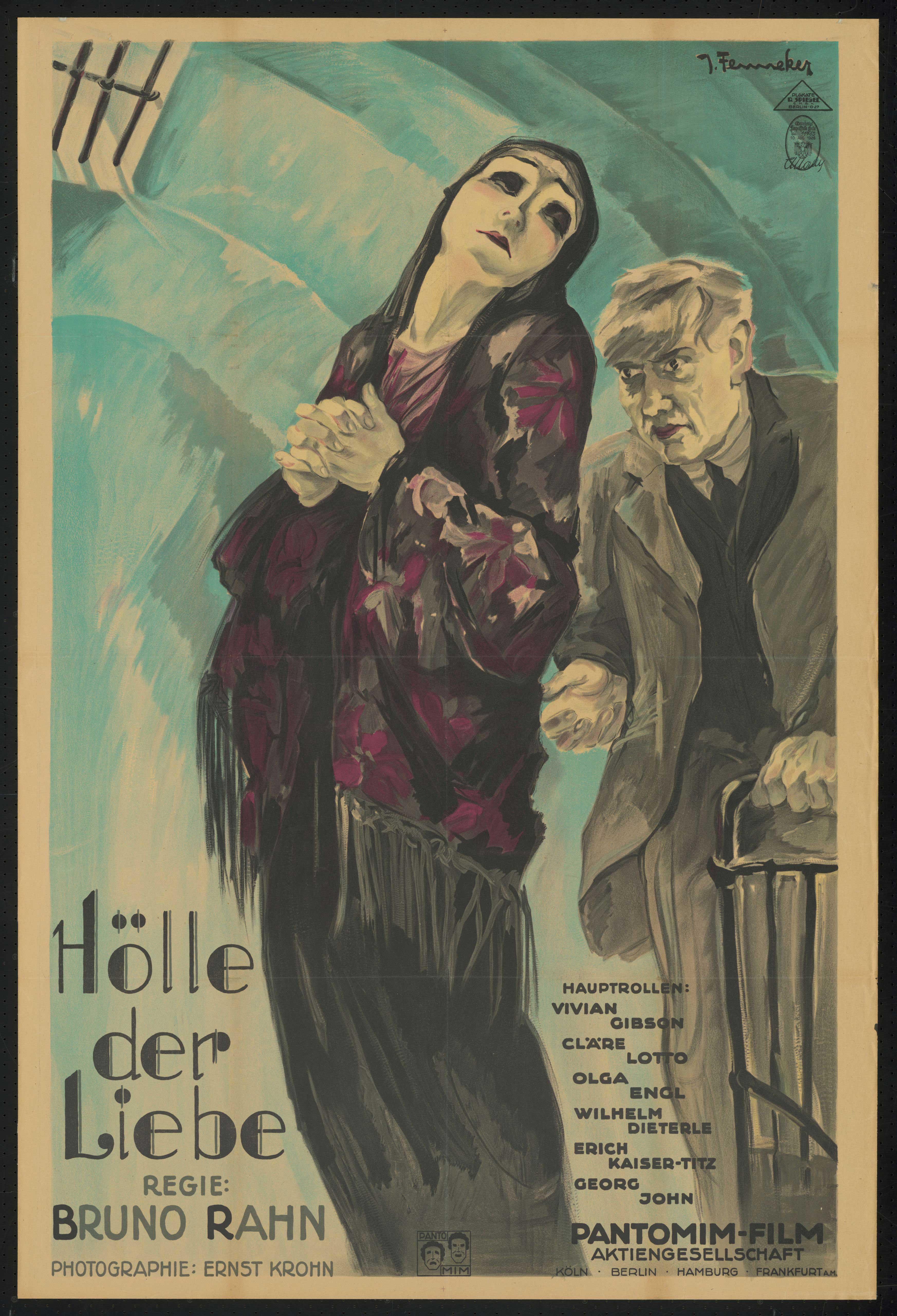 Film poster by Joef Fenneker: Hölle der Liebe, Germany 1926, directed by Bruno Rahn