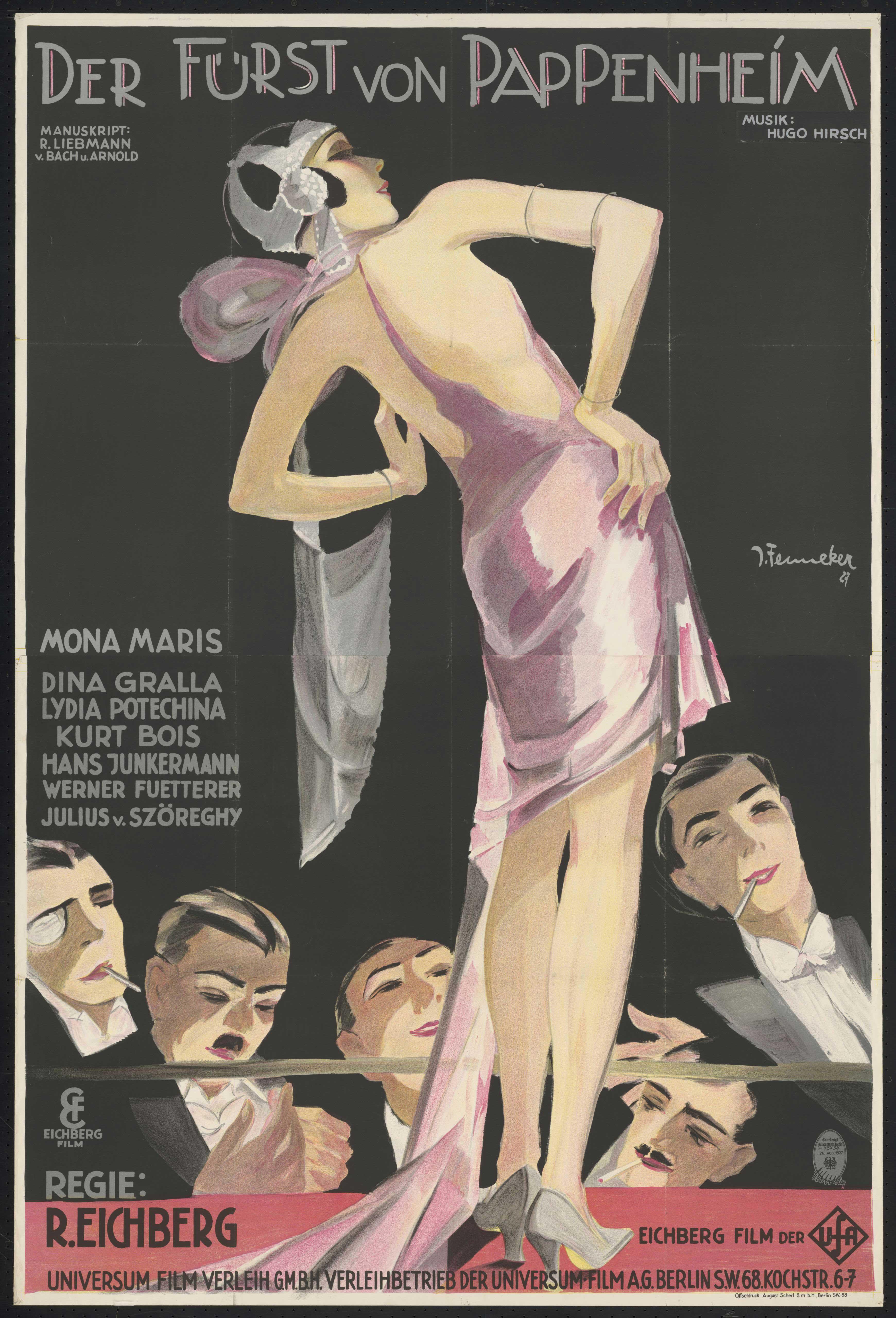 Film poster by Joef Fenneker: Der Fürst von Pappenheim, Germany 1927, directed by  Richard Eichberg