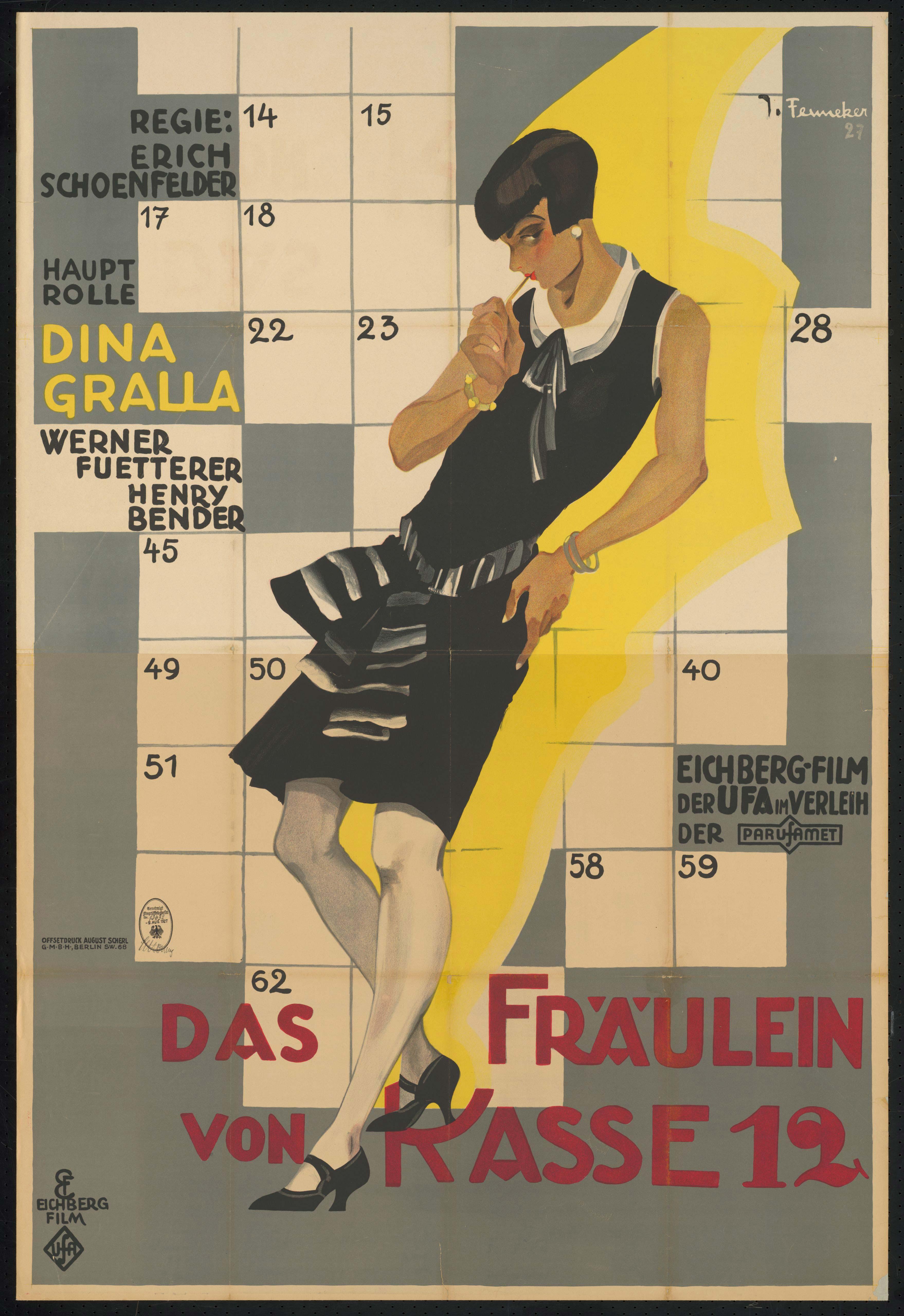 Film poster by Joef Fenneker: Das Fräulein von Kasse 12, Germany 1927, directed by Erich Schönfelder