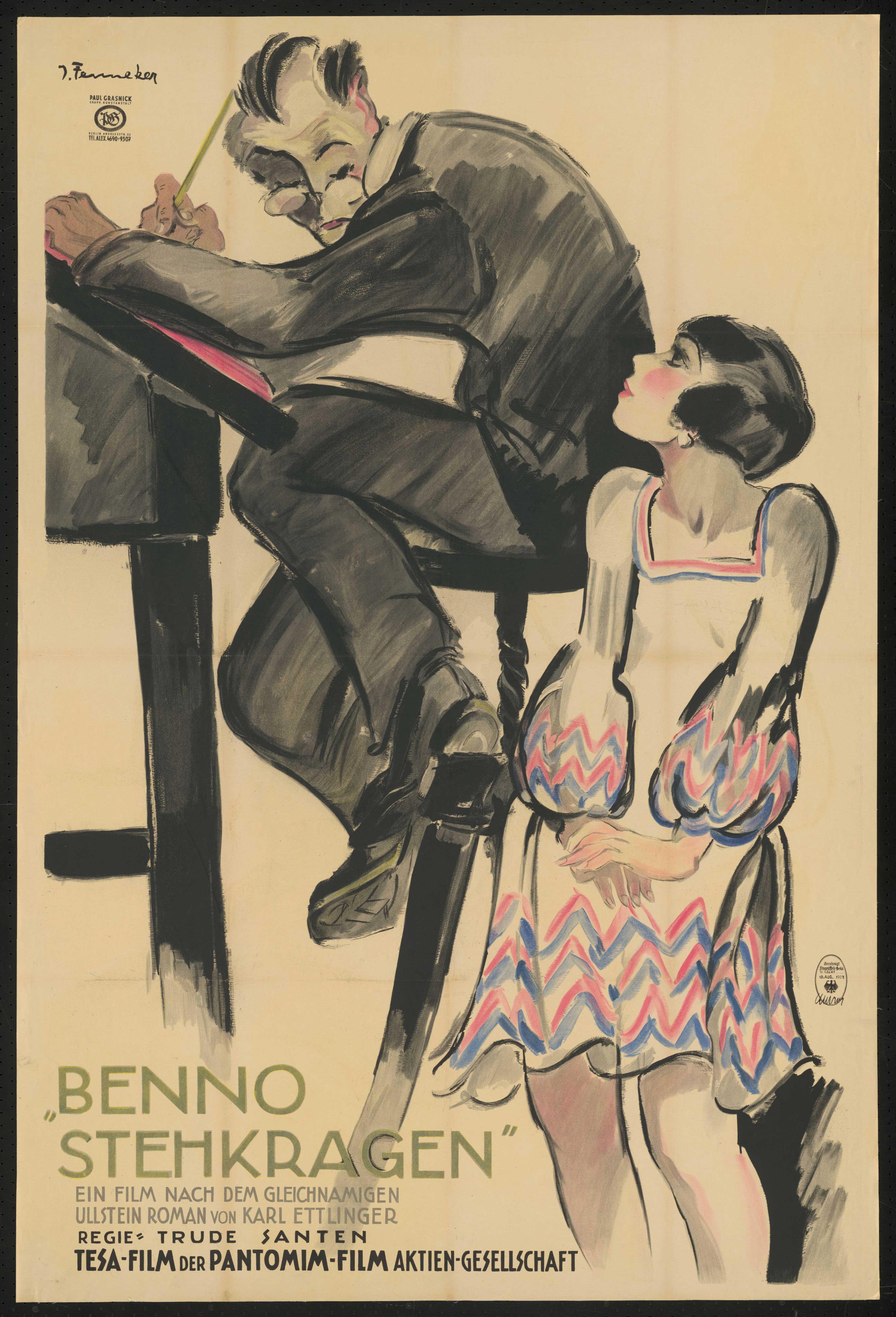 Film poster by Josef Fenneker: Benno Stehkragen, Germany 1927, directed by Trude Santen