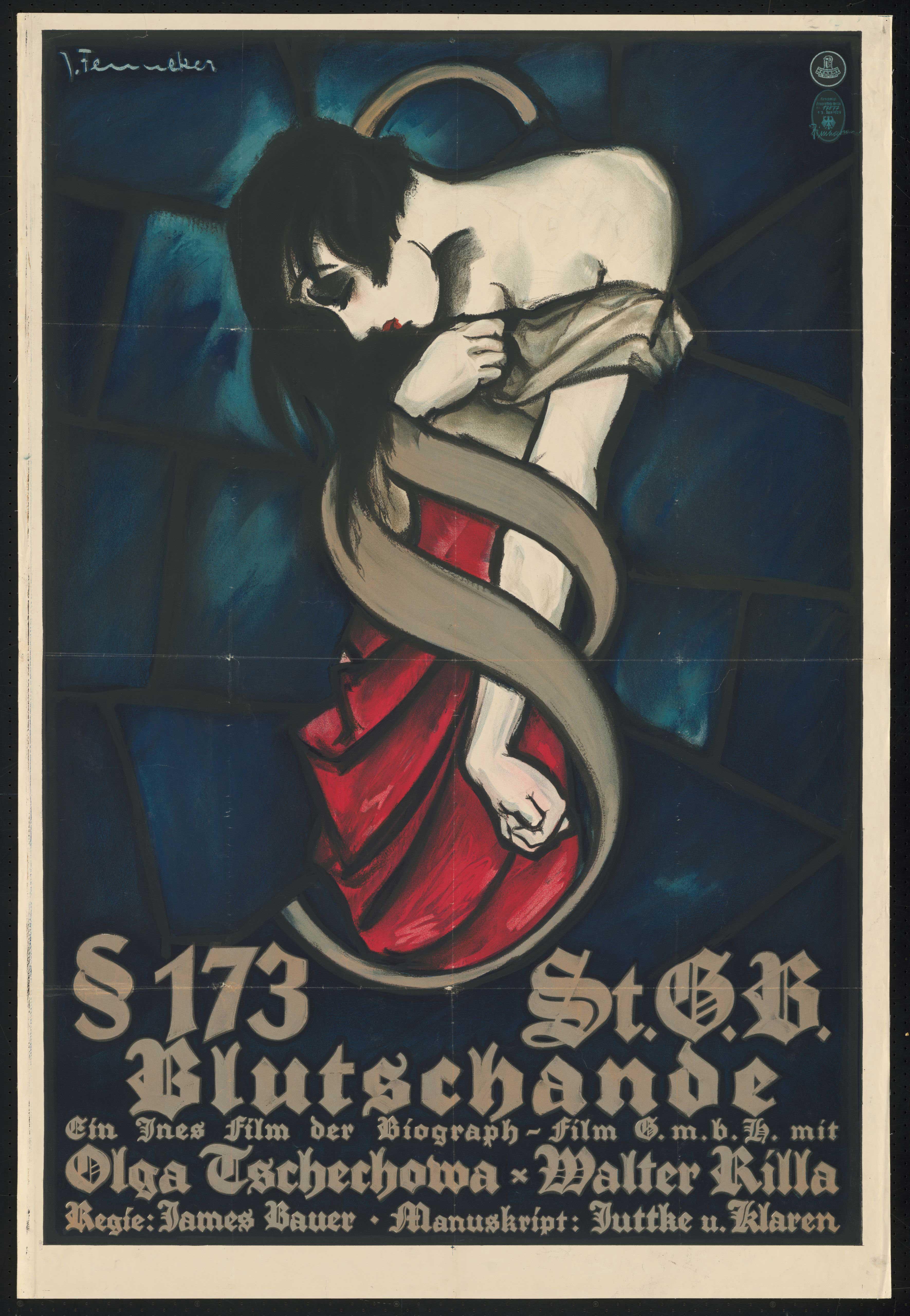 Film poster by Josef Fenneker: § 173 St. G. B. Blutschande, Germany 1929, directed by James Bauer