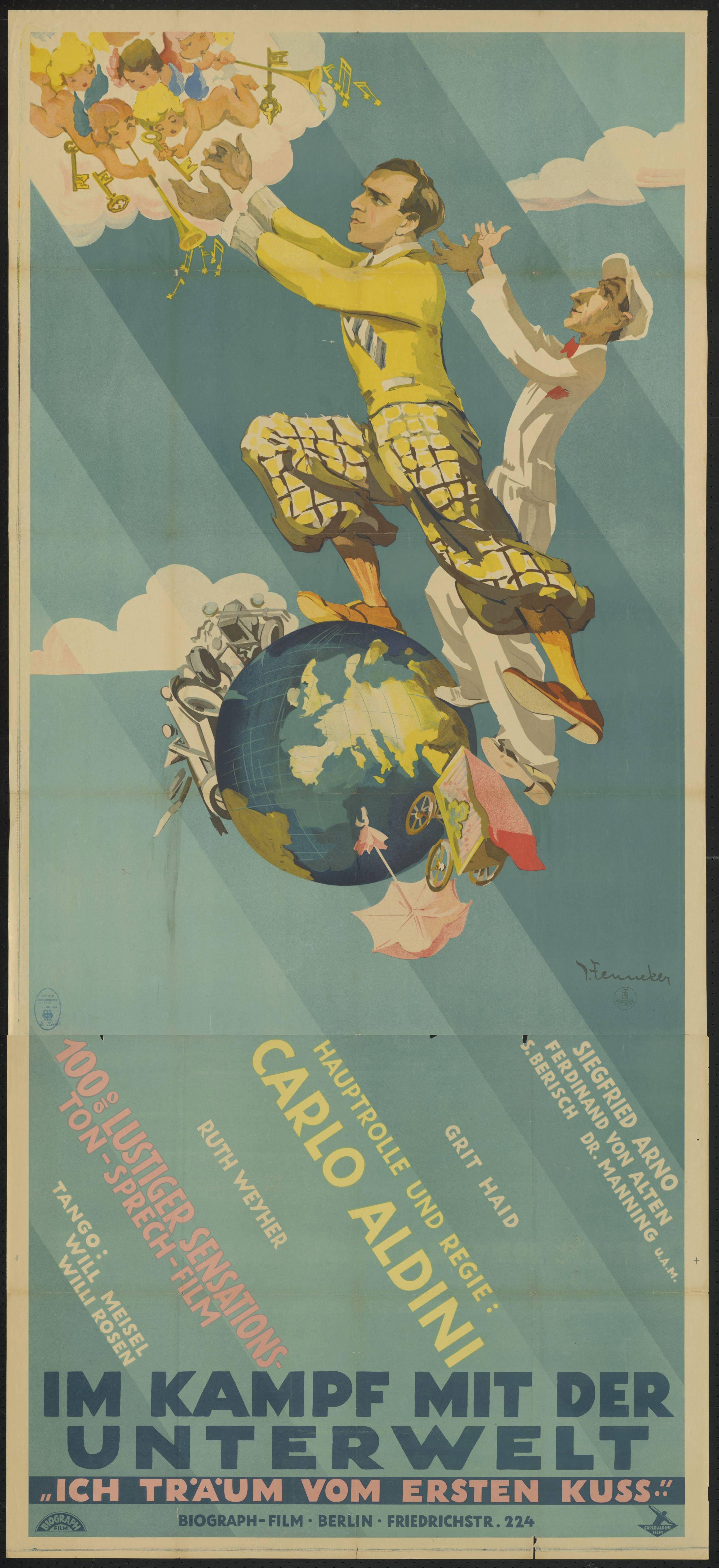Film poster by Josef Fenneker: Im Kampf mit der Unterwelt, Germany 1930, directed by Carlo Aldini