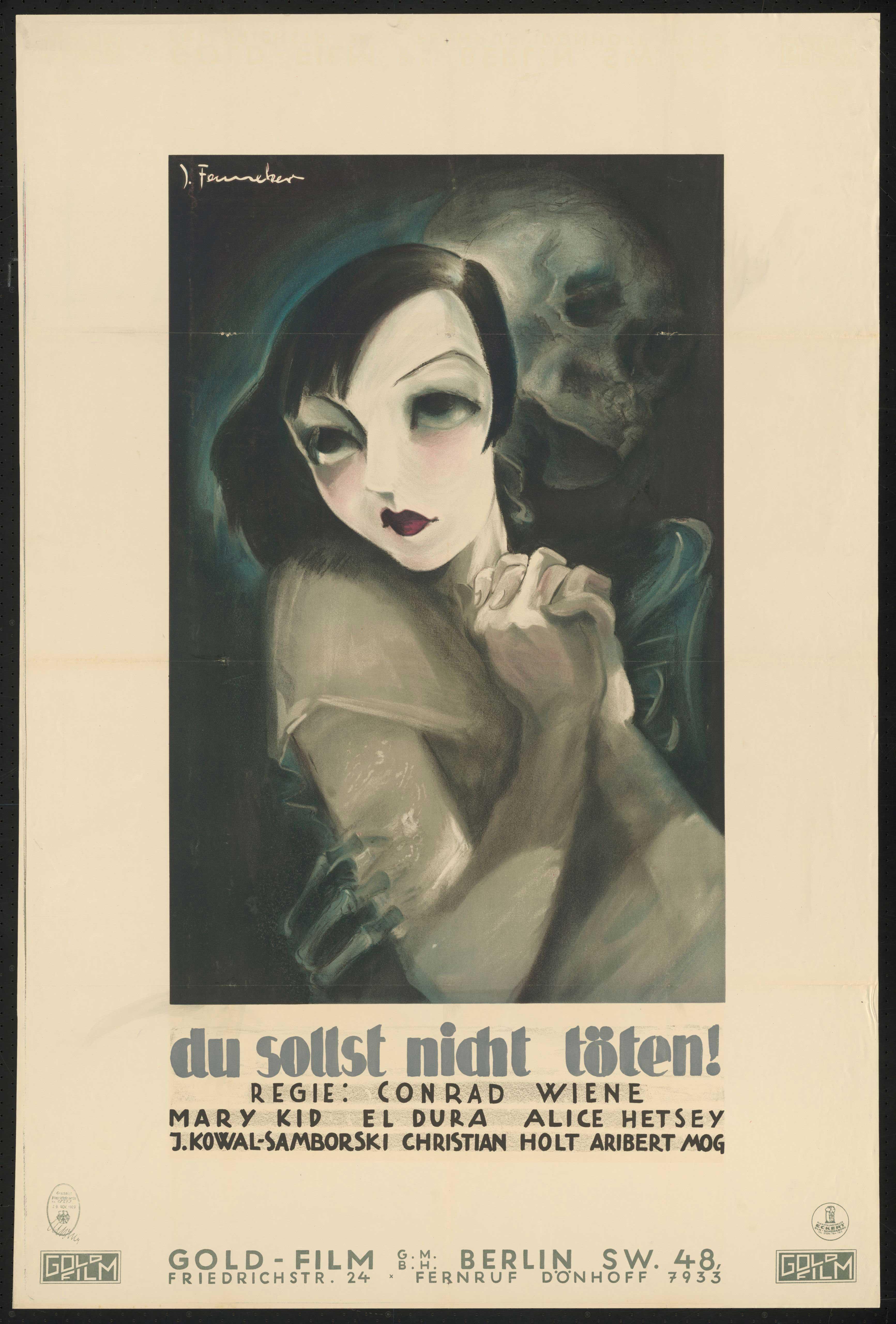 Film poster by Josef Fenneker: Eine Dirne ist ermordet worden, Austria 1930, directed by Conrad Wiene
