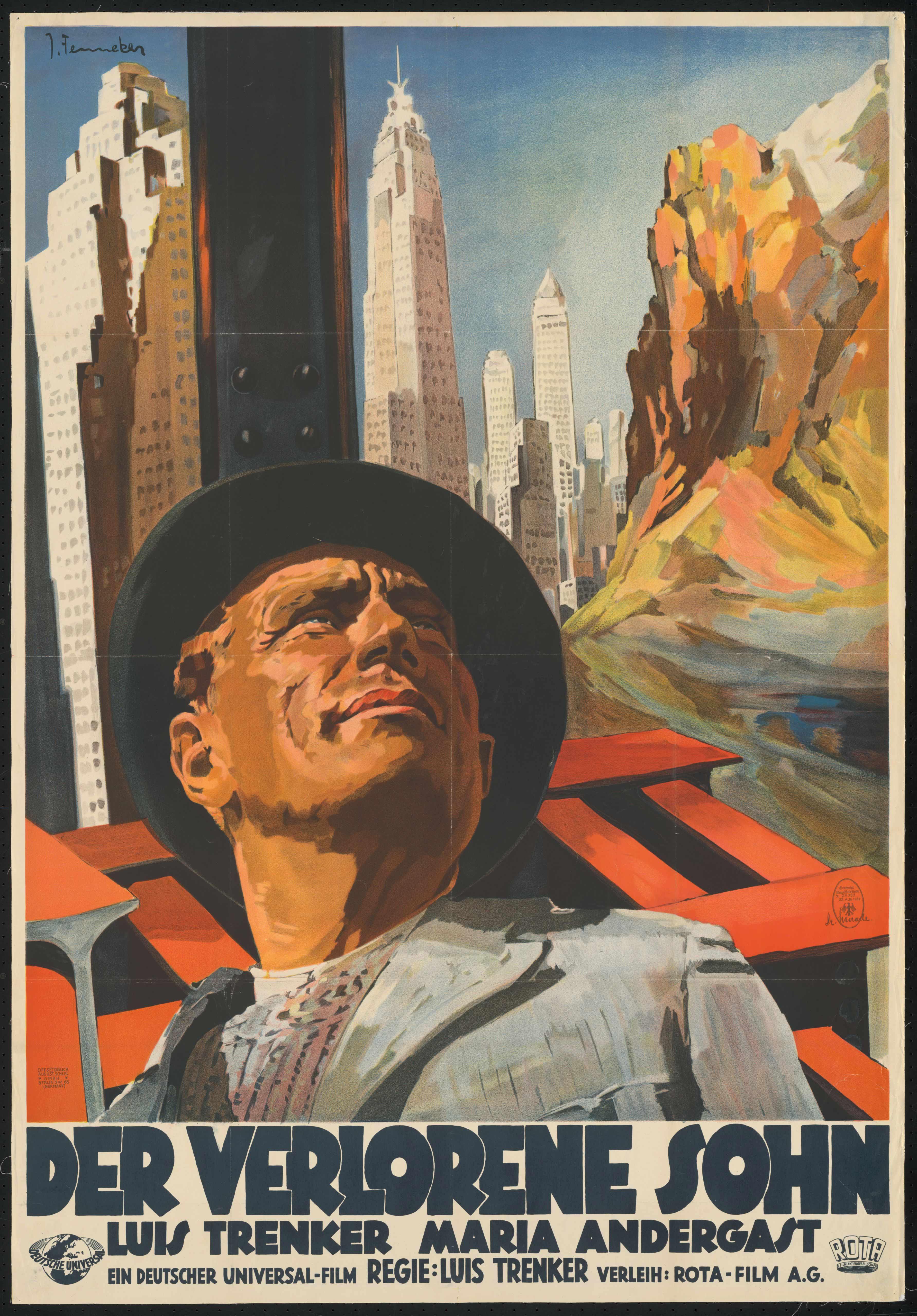 Film poster by Josef Fenneker: Der Verlorene Sohn, Germany 1933, directed by Luis Trenker