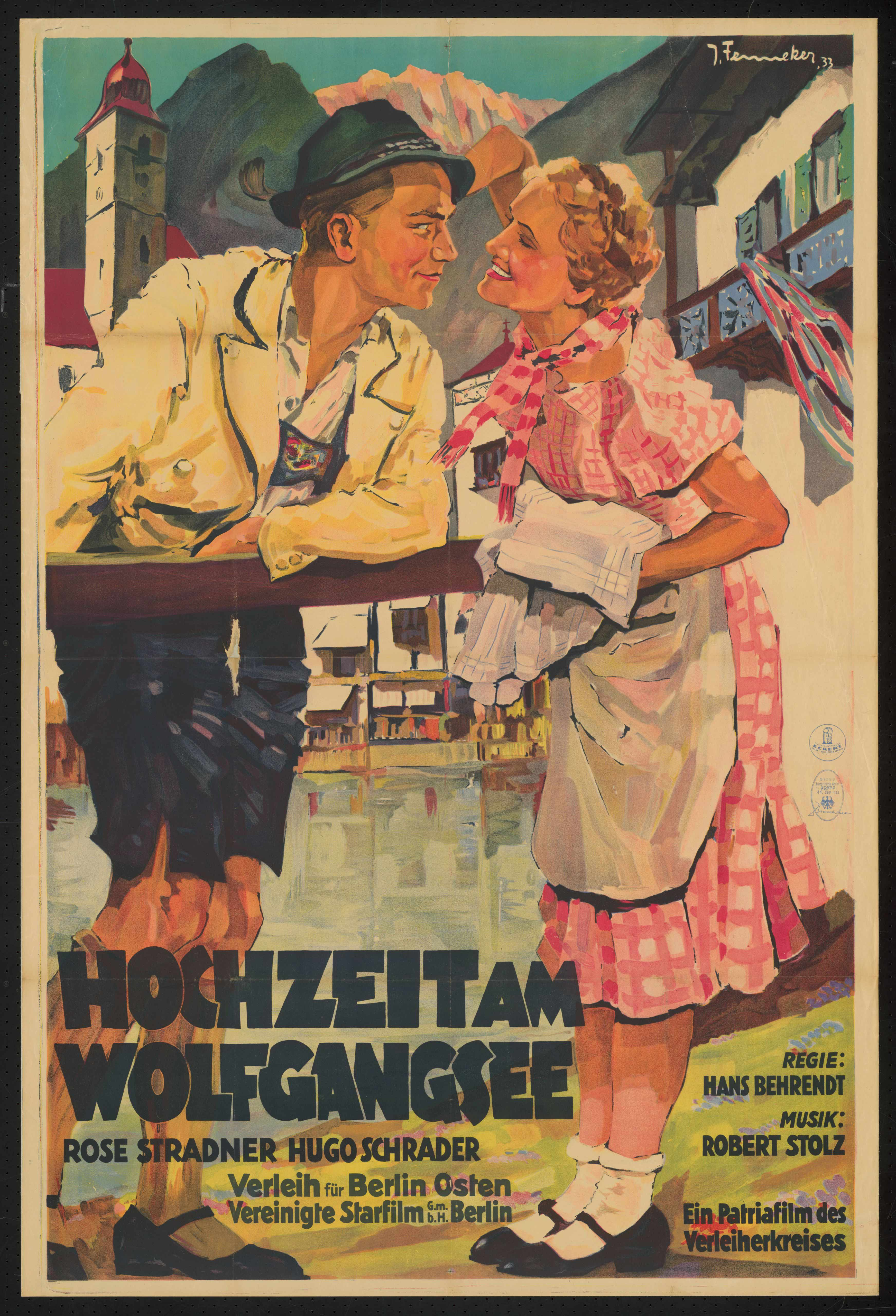 Film poster by Josef Fenneker: Hochzeit am Wolfgangsee, Germany 1933, directed by Hans Behrendt
