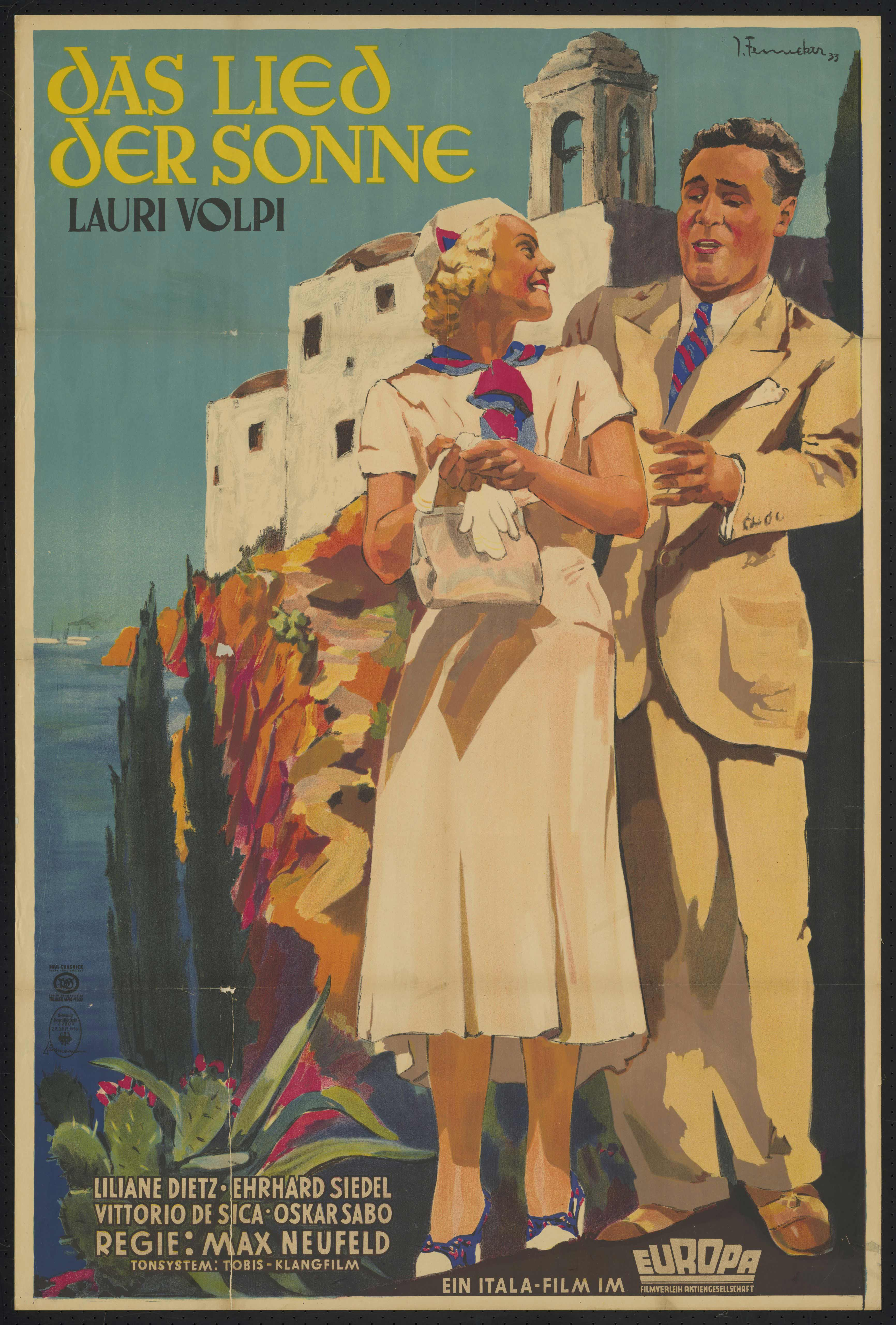 Film poster by Josef Fenneker: Das Lied der Sonne, Germany 1933, directed by Max Neufeld