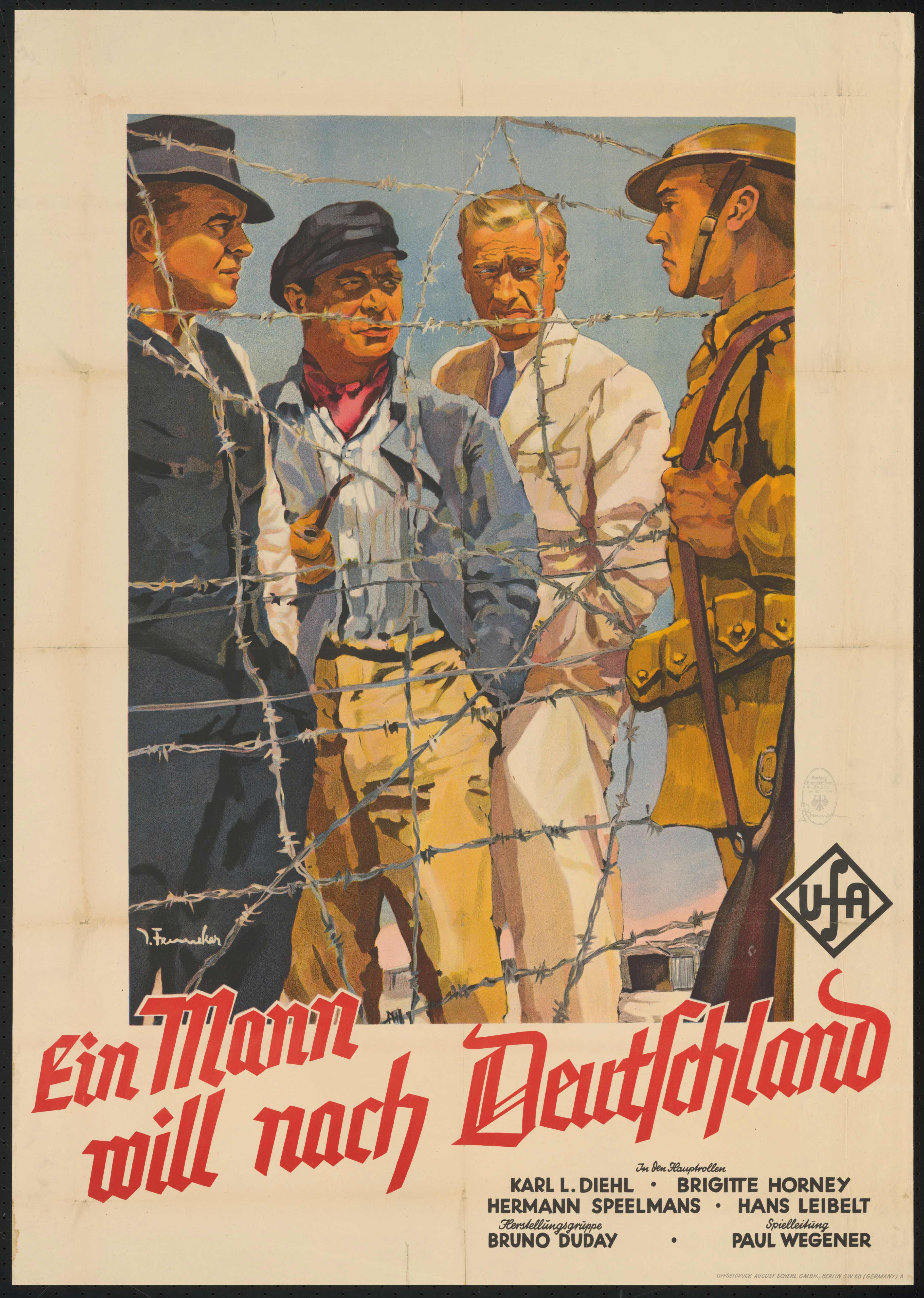 Film poster by Josef Fenneker: Ein Mann will nach Deutschland, Germany 1934, directed by Paul Wegener