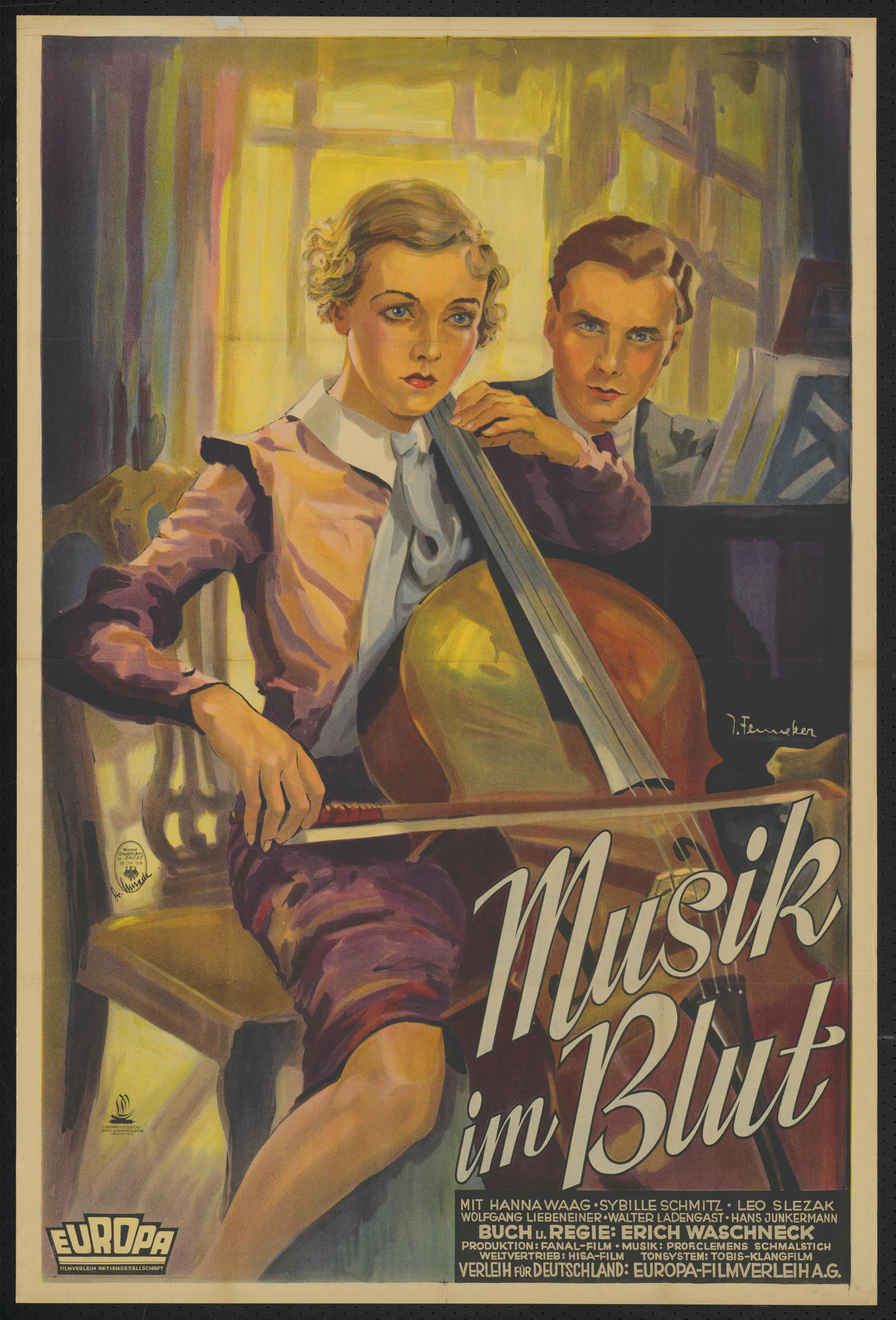 Film poster by Josef Fenneker: Musik im Blut, Germany 1934, directed by Erich Waschneck