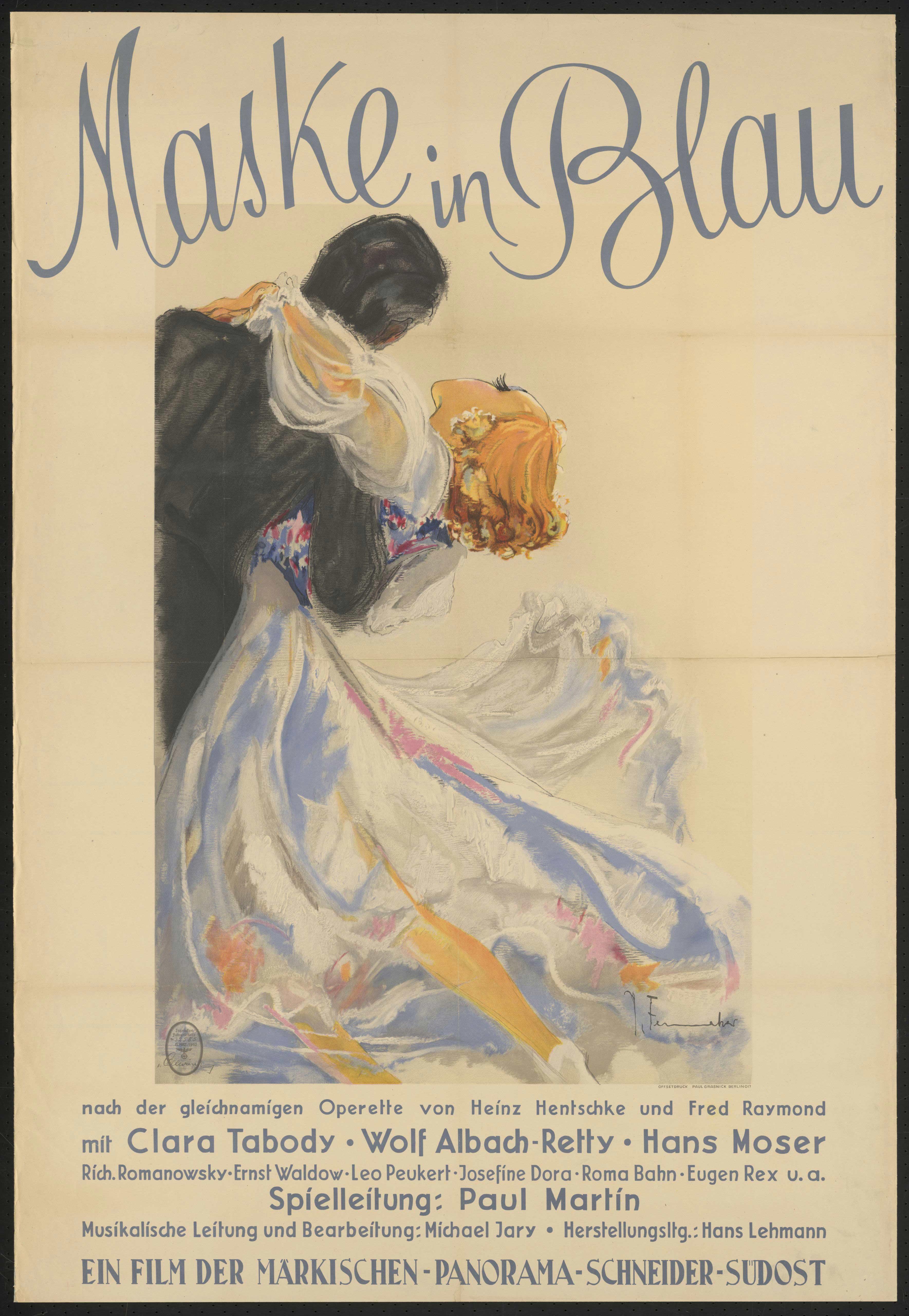 Film poster by Josef Fenneker: Maske in Blau, Germany 1943, directed by Paul Martin