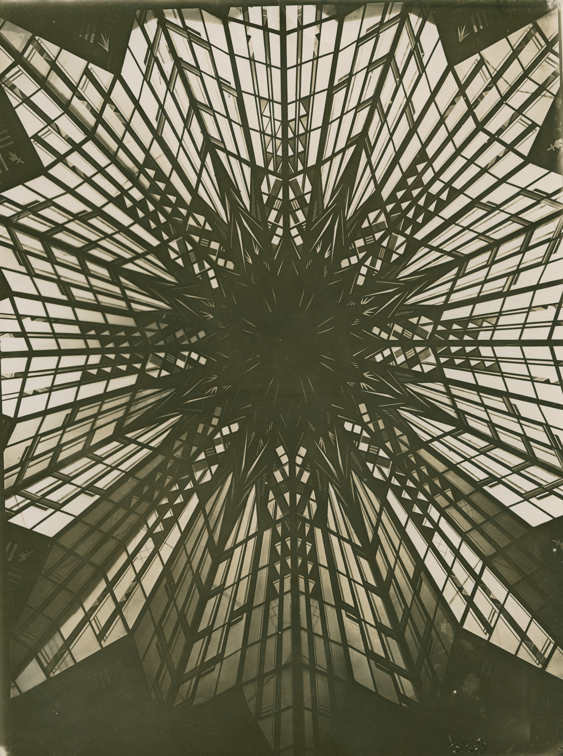 Black and white photo of the dome from below.
