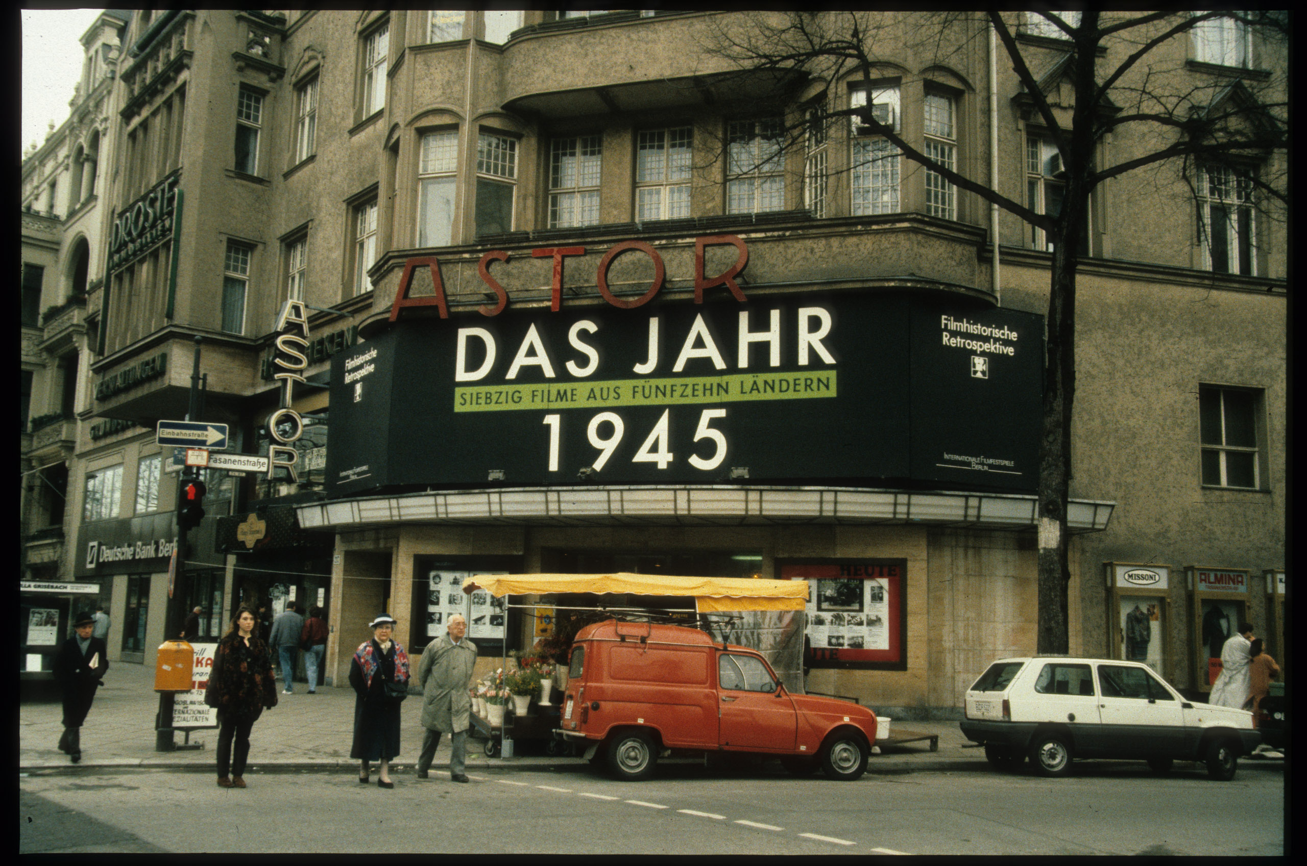 Color photo: entrance with advertisements for Berlinale Retrospective