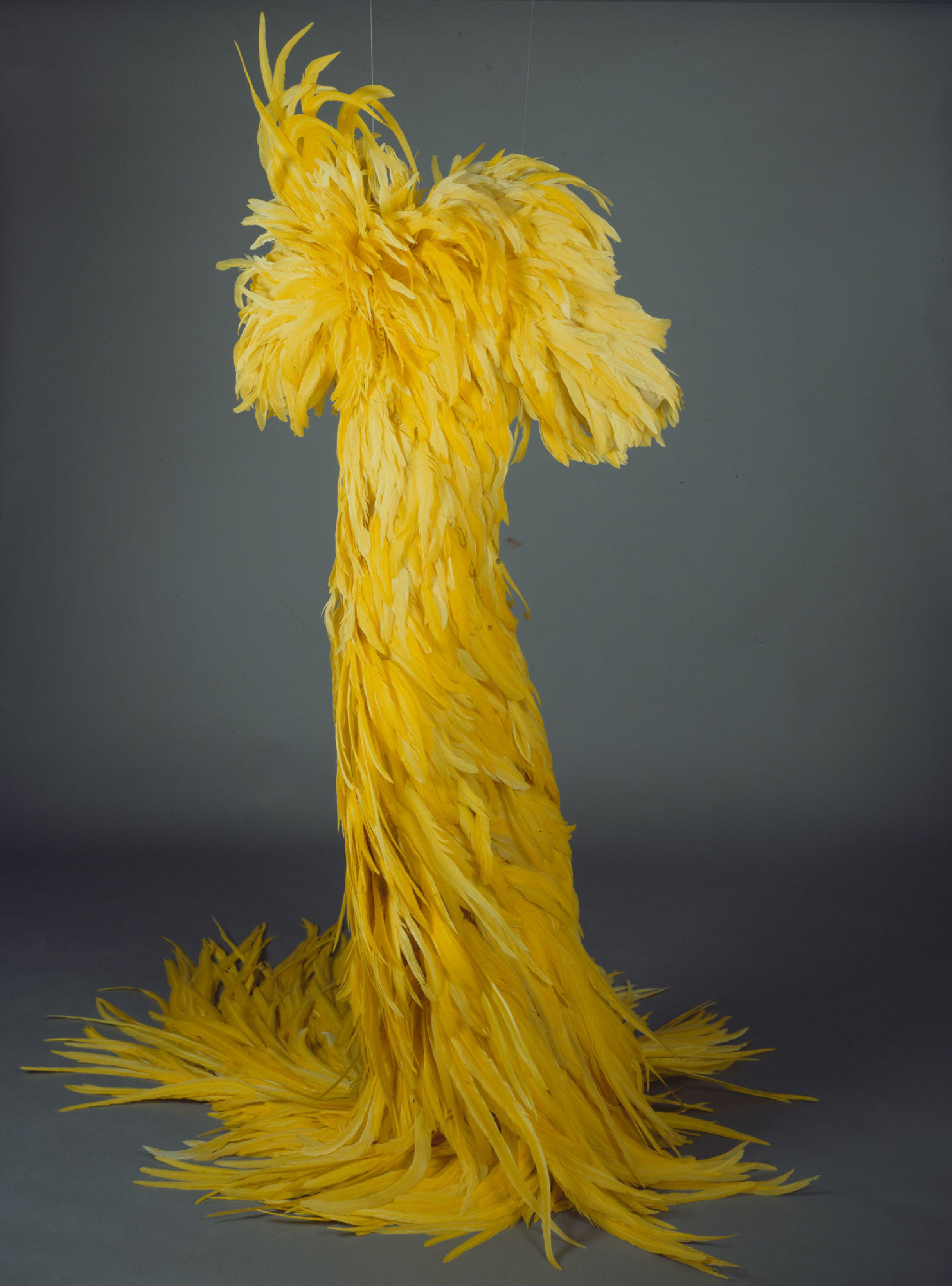 Showmantel aus gelben Hahnenfedern, Design: Jean Louis, Los Angeles, 1959