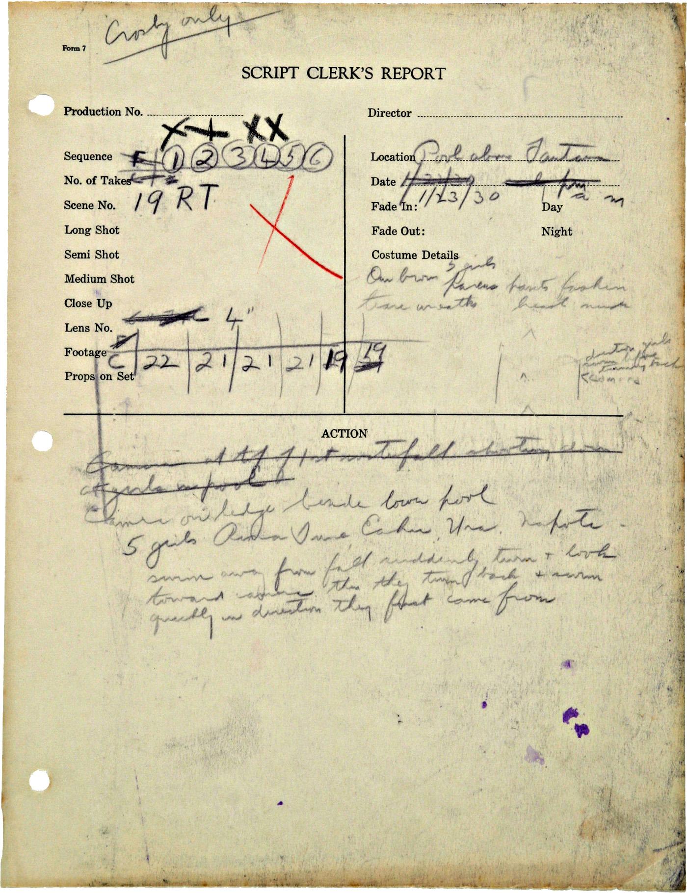 Originalseite eines Tagesberichts mit Handschriftlichen Notizen
