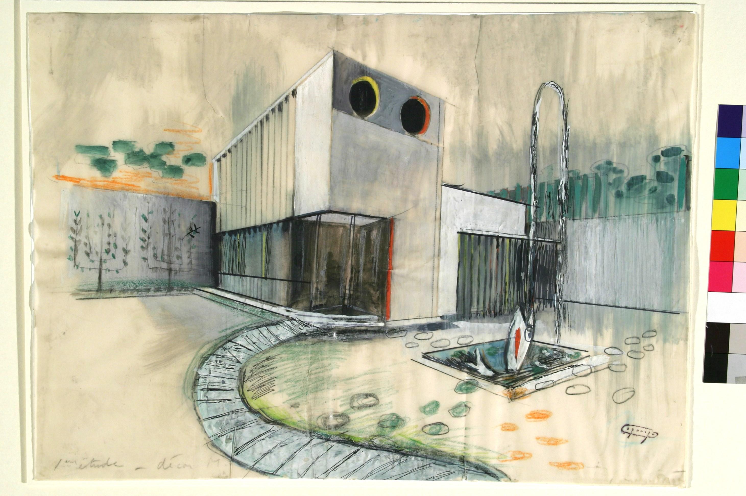 Entwurfszeichnung von Jacques Lagrange zum Film Mon oncle (Frankreich/Italien 1956–58, Regie: Jacques)