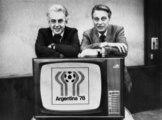 Hanns-Joachim Friedrichs und Rudi Michel, Teamchefs der Übertragung der Fußball-WM 1978 in Argentinien für ARD und ZDF