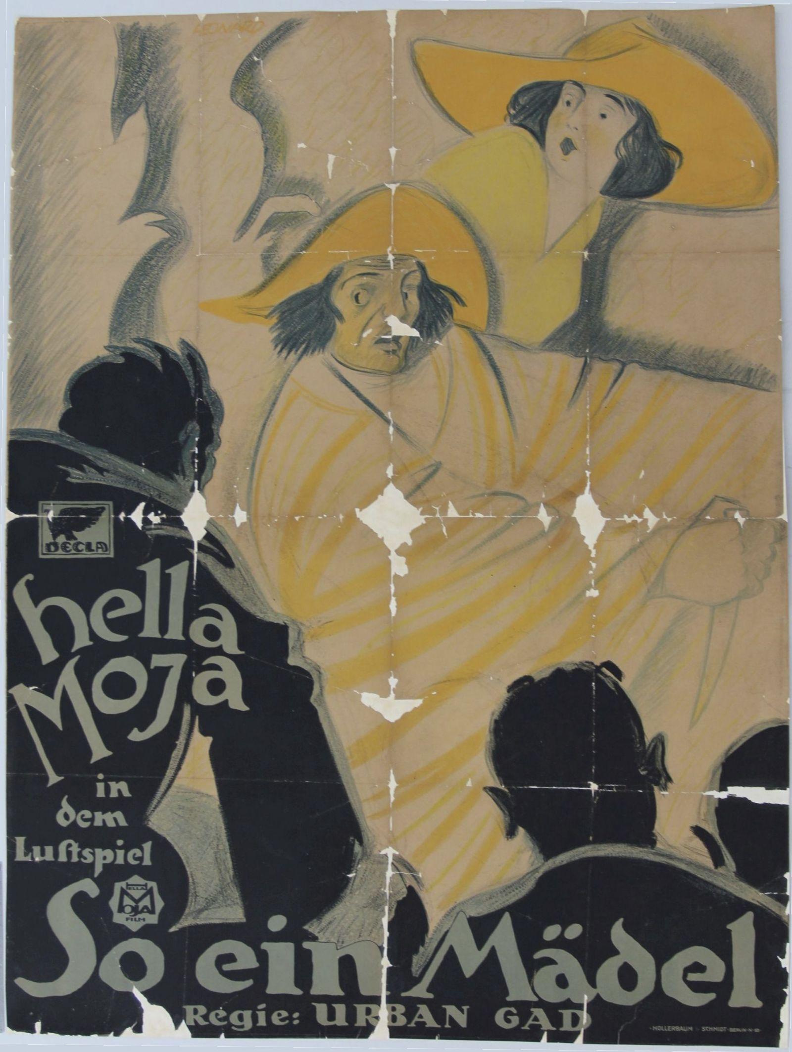 Plakat zum Film So ein Mädel nach der Restaurierung, zusammengesetzt