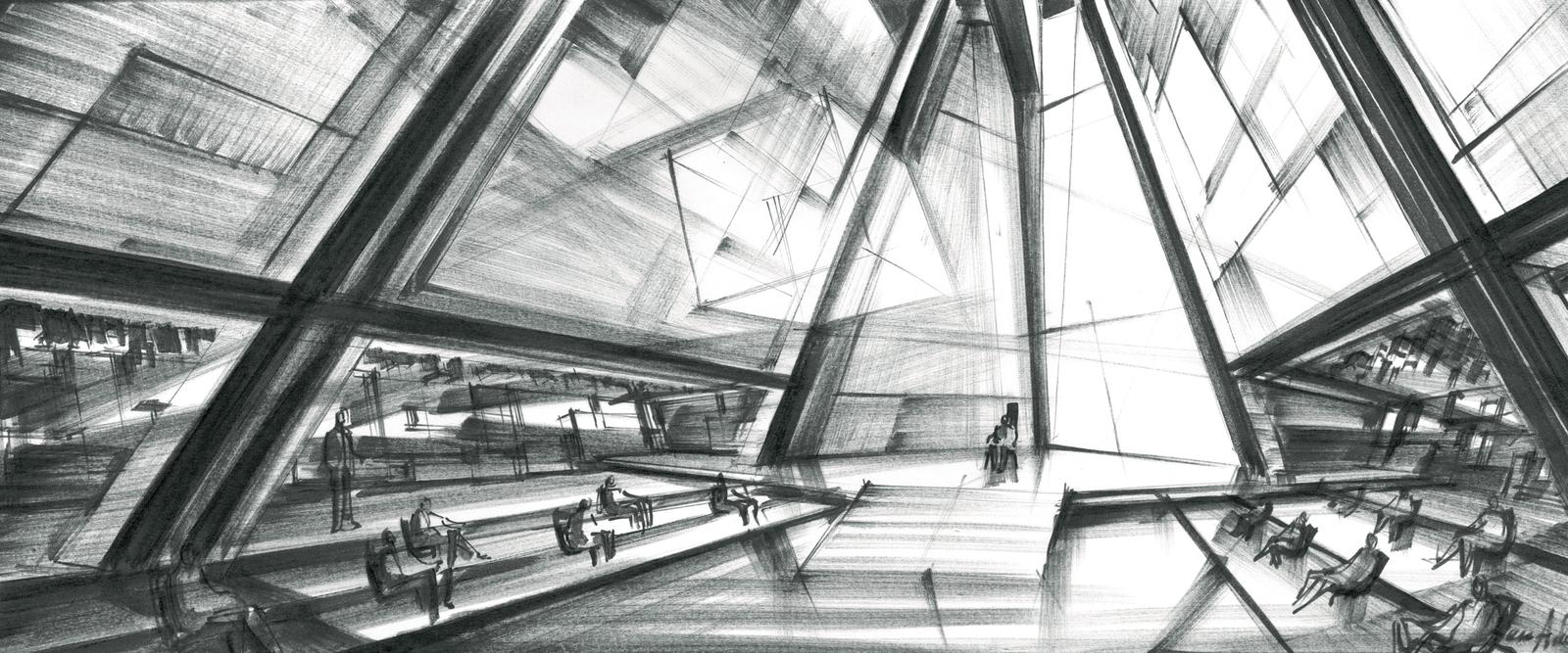 Entwurf von Ken Adam zum Film Moonraker von Lewis Gilbert