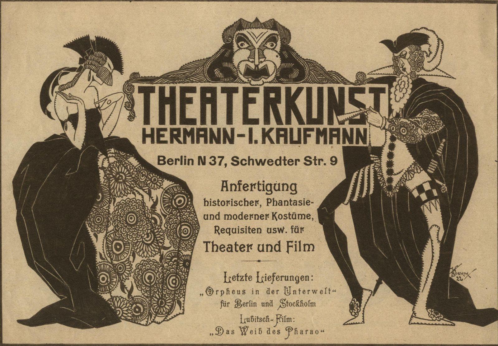Anzeige der Theaterkunst aus den frühen 1920er Jahren